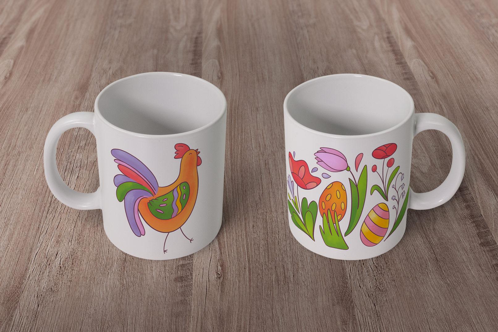Tassen mit Grafiken für Ostern