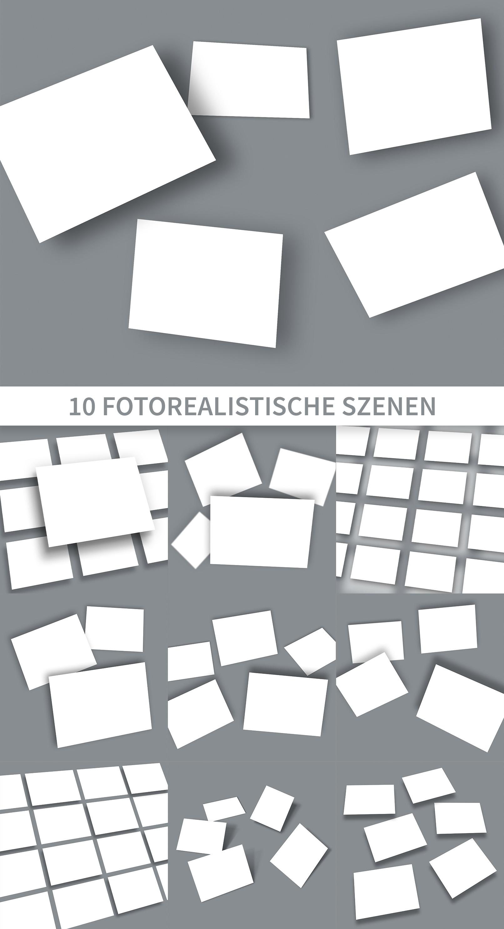 Photoshop-Mockups für Präsentationsfolien im 4:3-Format mit Karten unterschiedlicher Ausrichtung