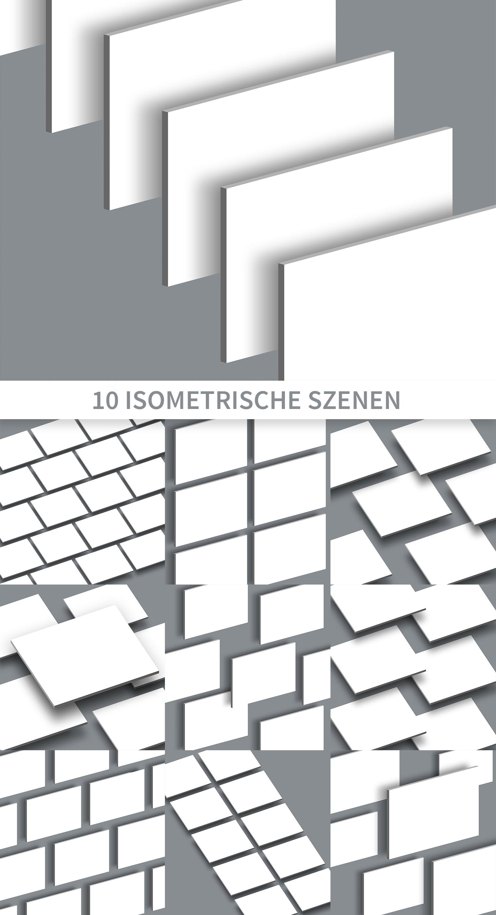 Photoshop-Mockups für Präsentationsfolien im 4:3-Format in isometrischer Darstellung