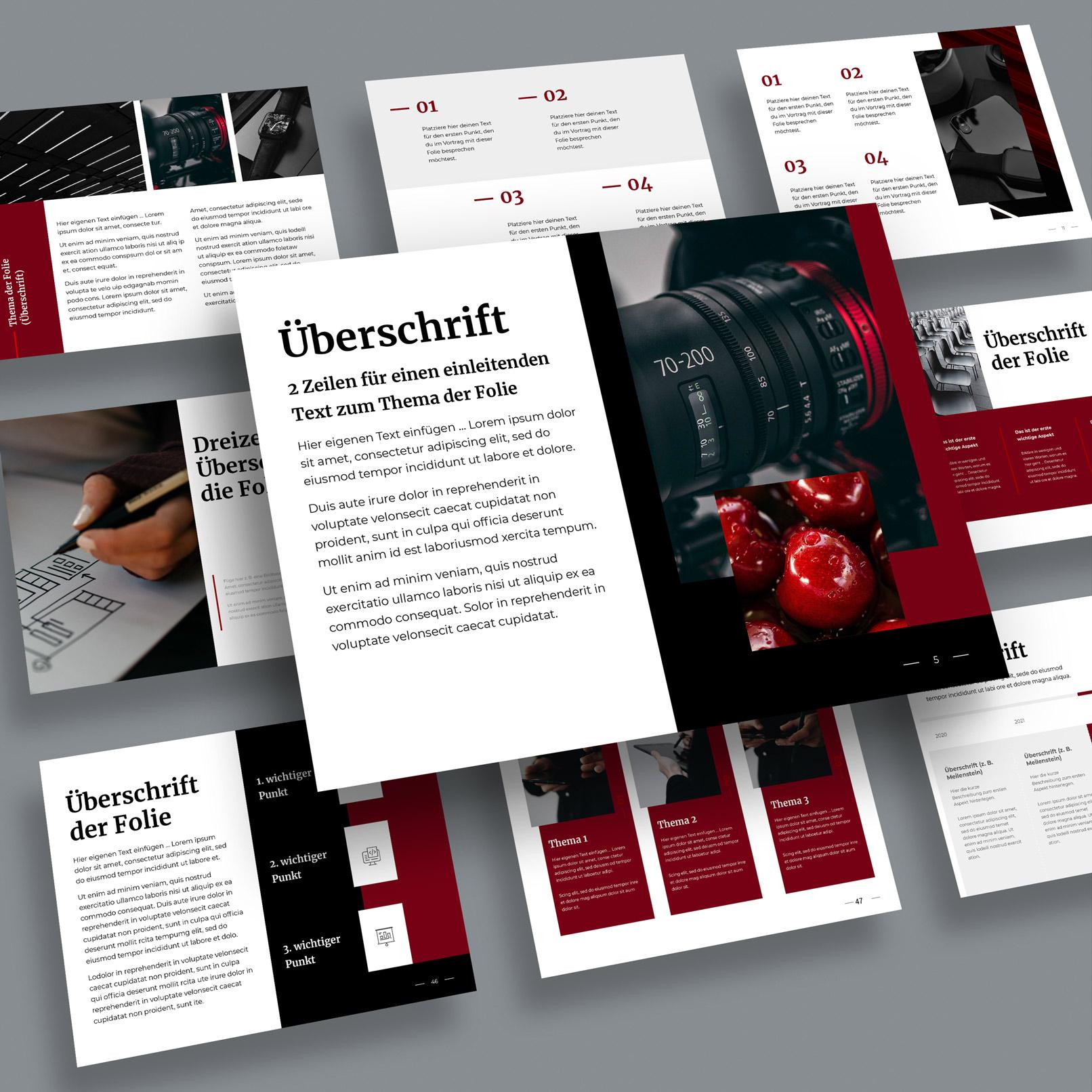 Photoshop-Mockups für Präsentationsfolien im 4:3-Format: Beispiel einer Präsentation auf einem Mockup mit frei schwebenden Karten