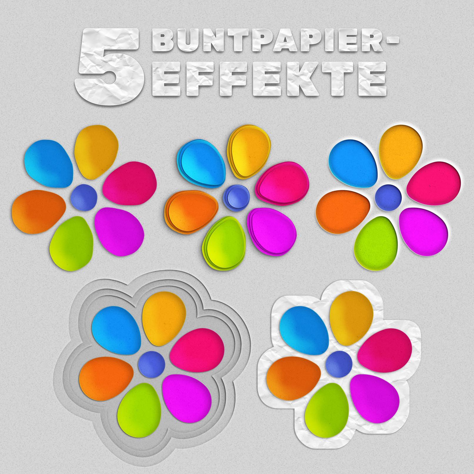 5 verschiedene Buntpapier-Effekte, die mit Photoshop erzeugt wurde