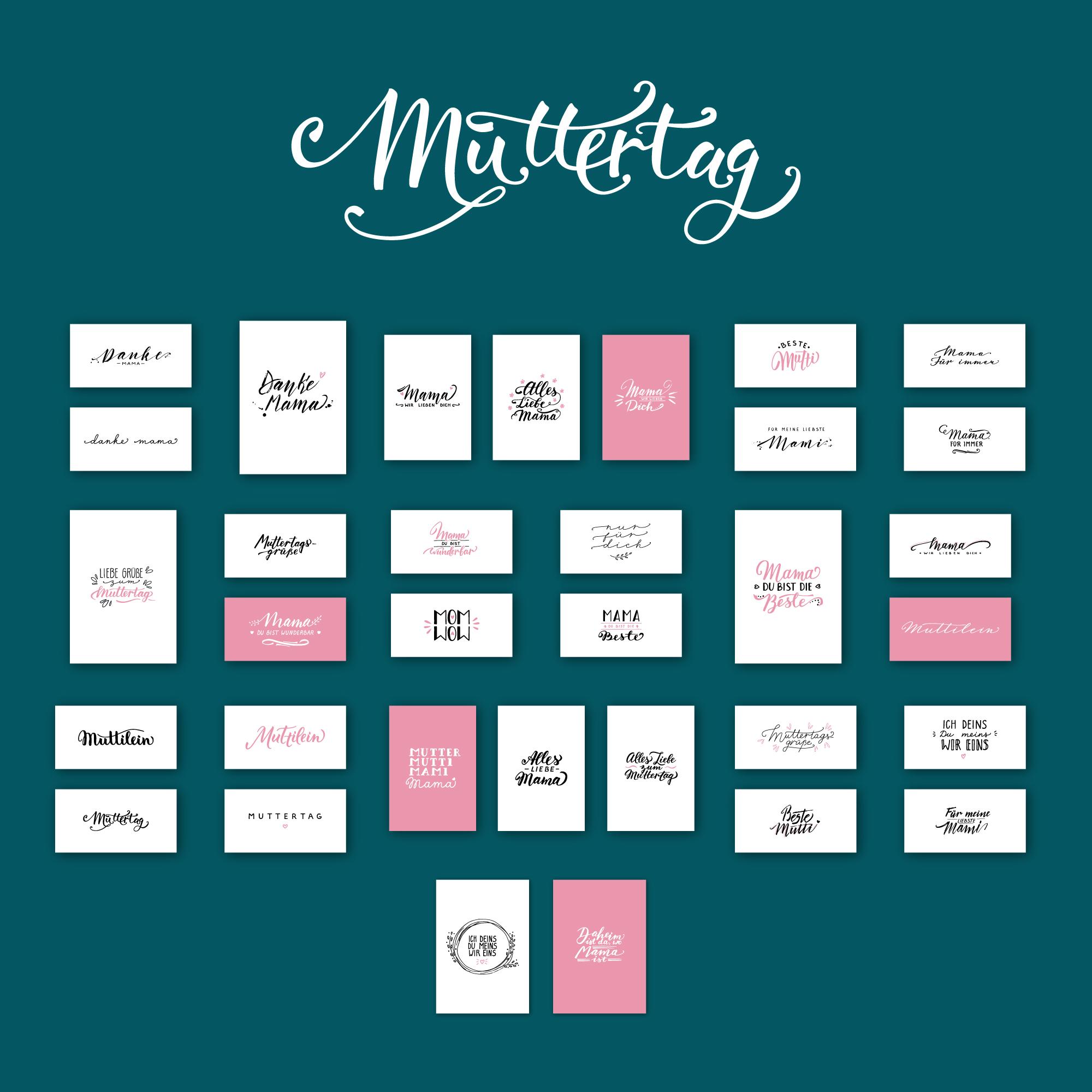 Vorschau auf die 33 Handlettering-Vorlagen zum Muttertag