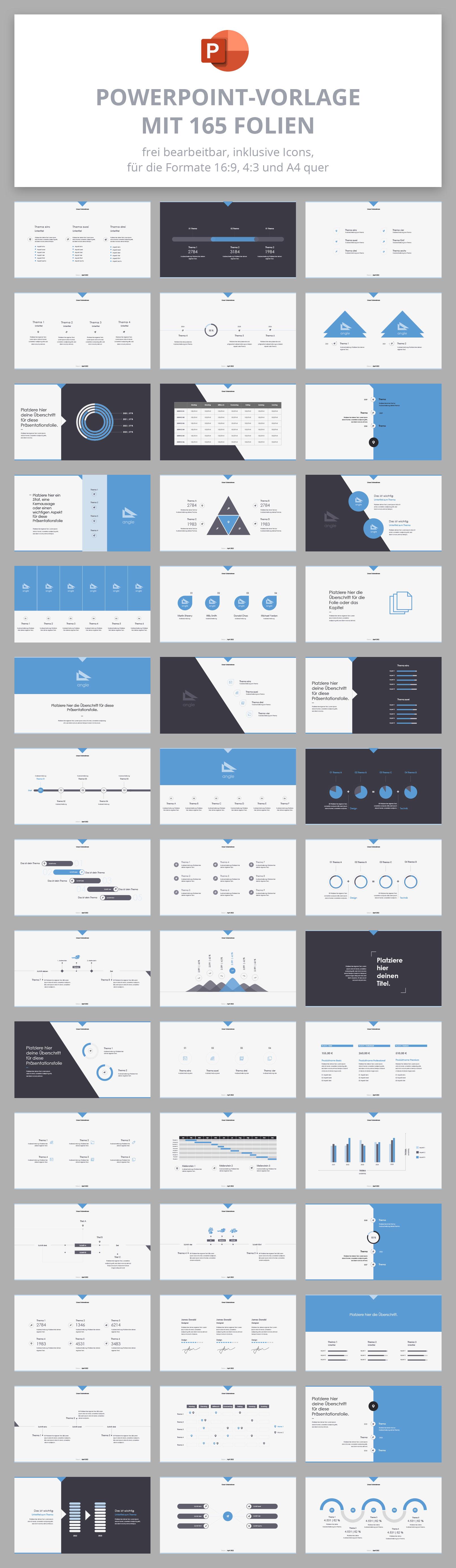 PowerPoint Folien-Vorlagen Angle, Vorschau auf die 165 Folien