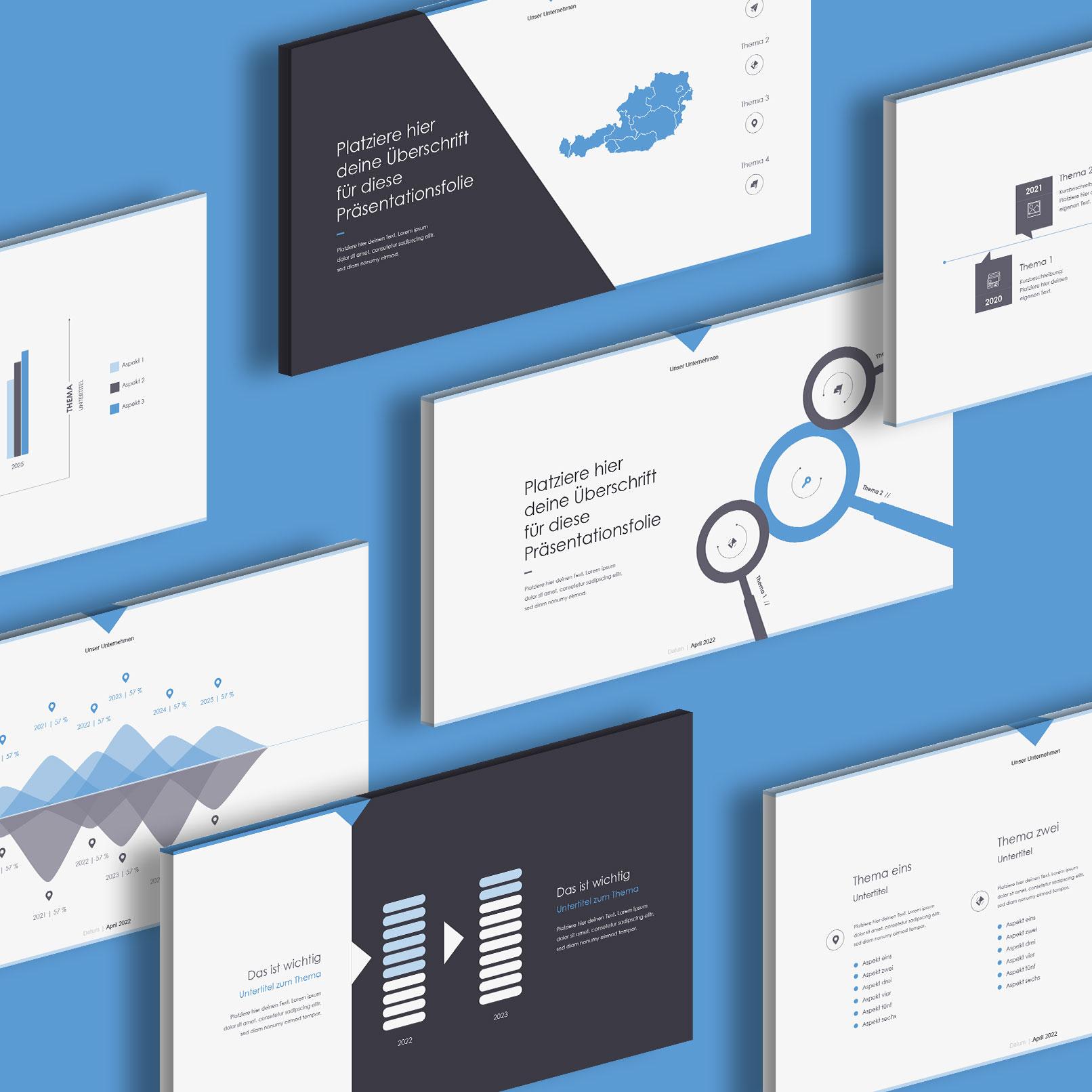 PowerPoint Folien-Vorlagen Angle, Vorschau auf verschiedene Layouts