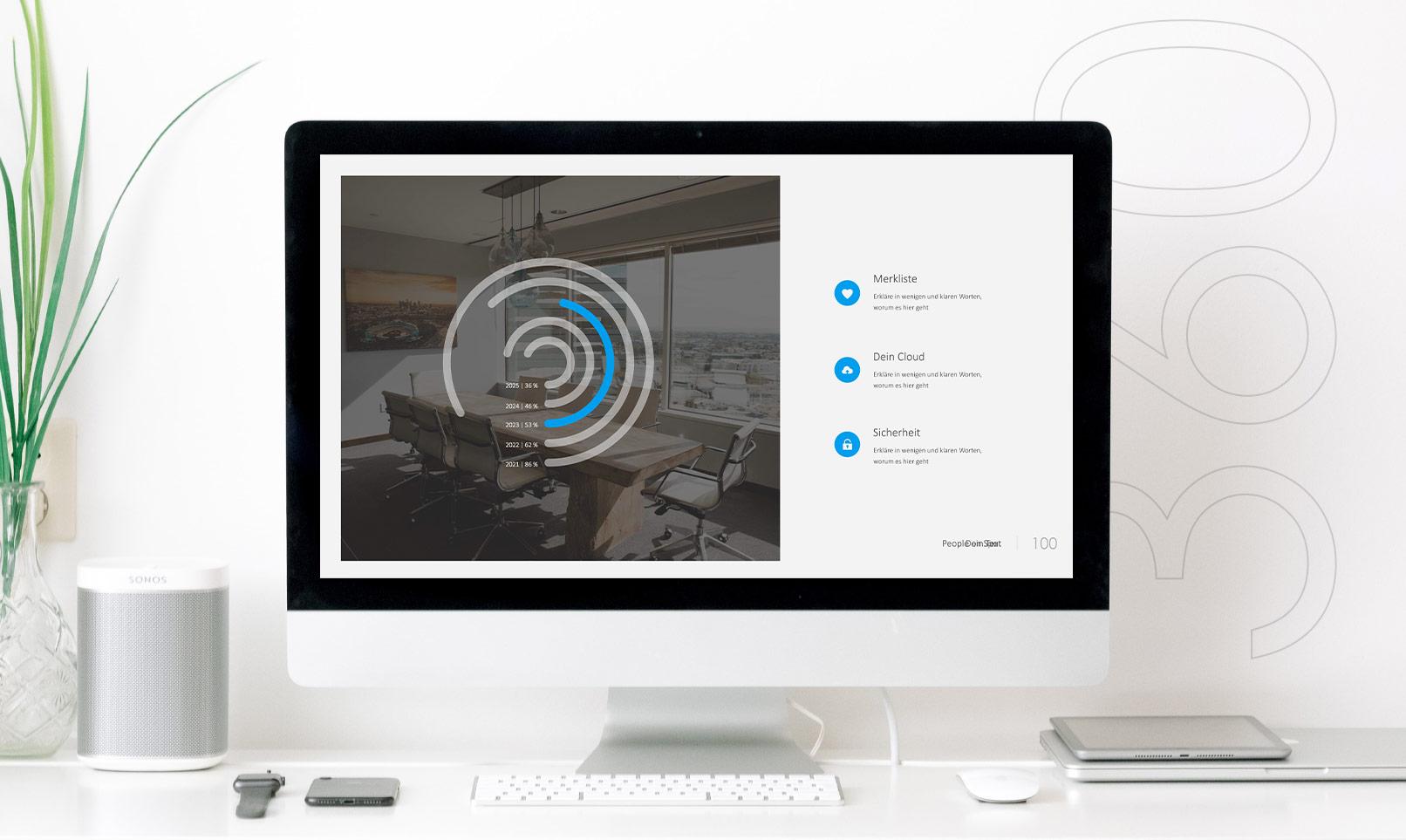 Vorlage für Keynote-Präsentationen: Folie mit Bild und Text auf einem Monitor