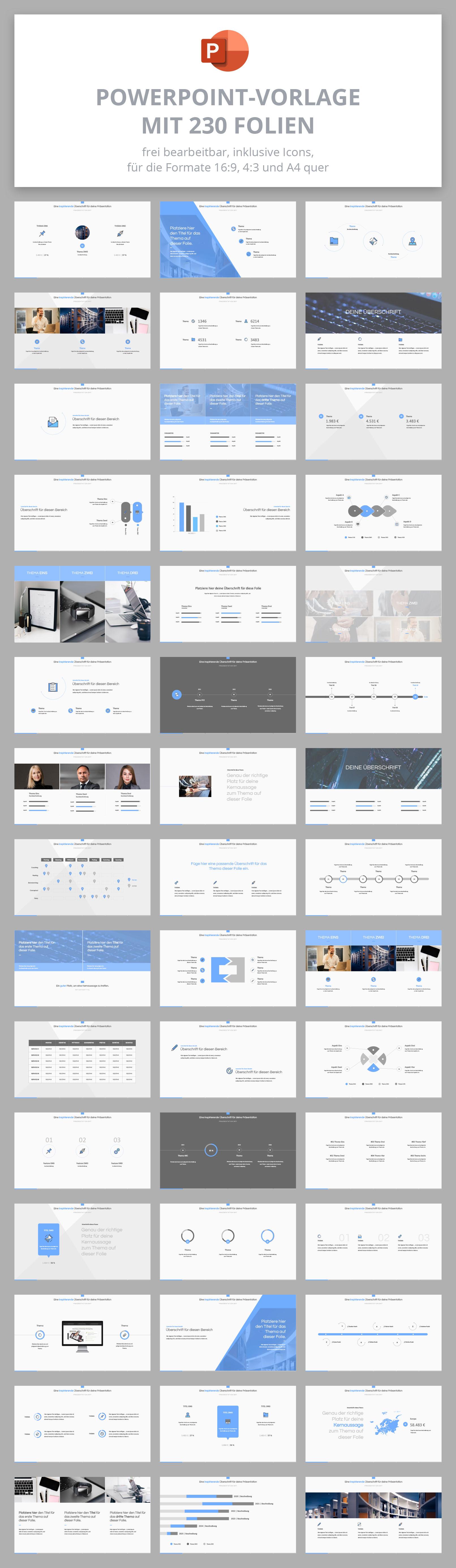 PowerPoint Design-Vorlage Sky, Vorschau auf die 230 Folien