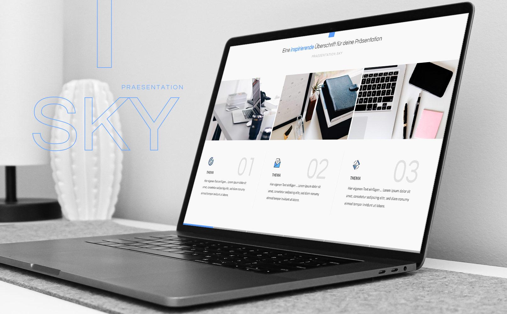 PowerPoint Design-Vorlage Sky, Beispielfolie auf einem Laptop
