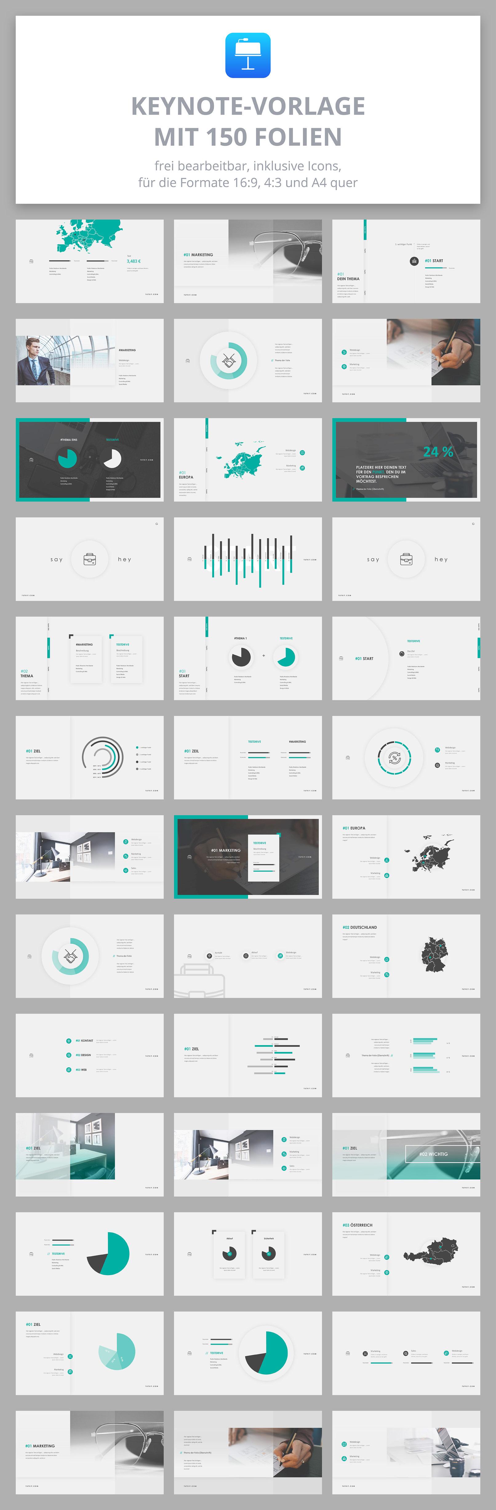 150 Layout-Vorlagen für Keynote im Air-Design, Vorschau auf ausgewählte Folien