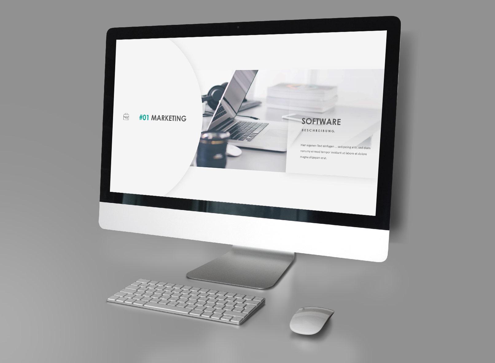 Layout-Vorlagen für Keynote: Beispielfolie auf einem Monitor