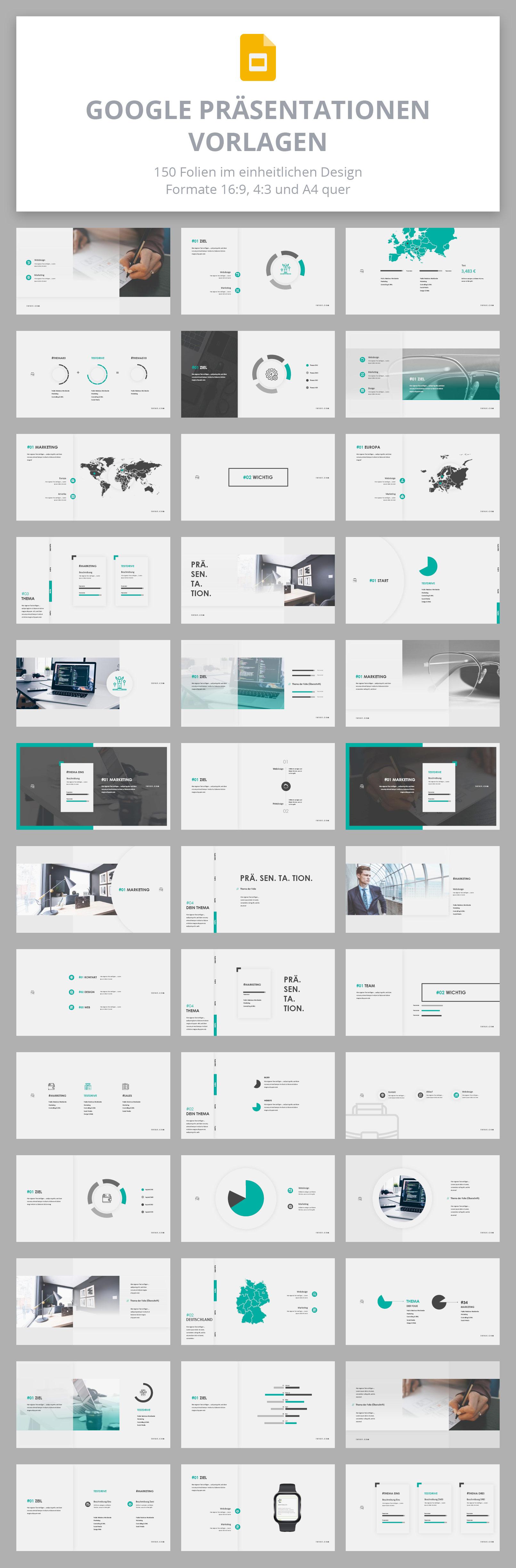 Vorlagen für Google Präsentationen im Air-Design: Überblick über die Layouts