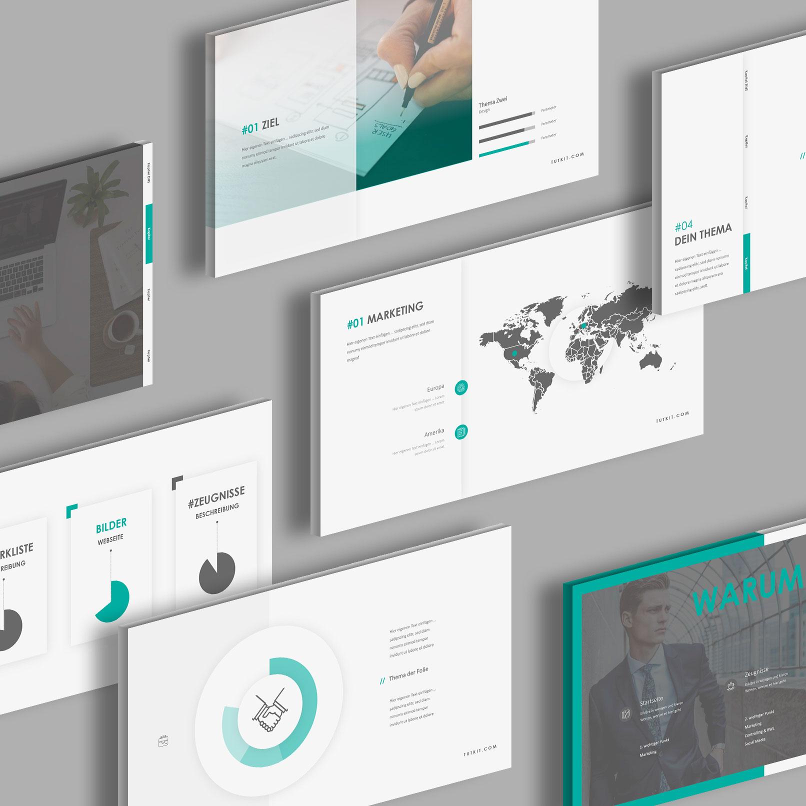 Vorlagen für Google Präsentationen im Air-Design: mehrere Beispielfolien