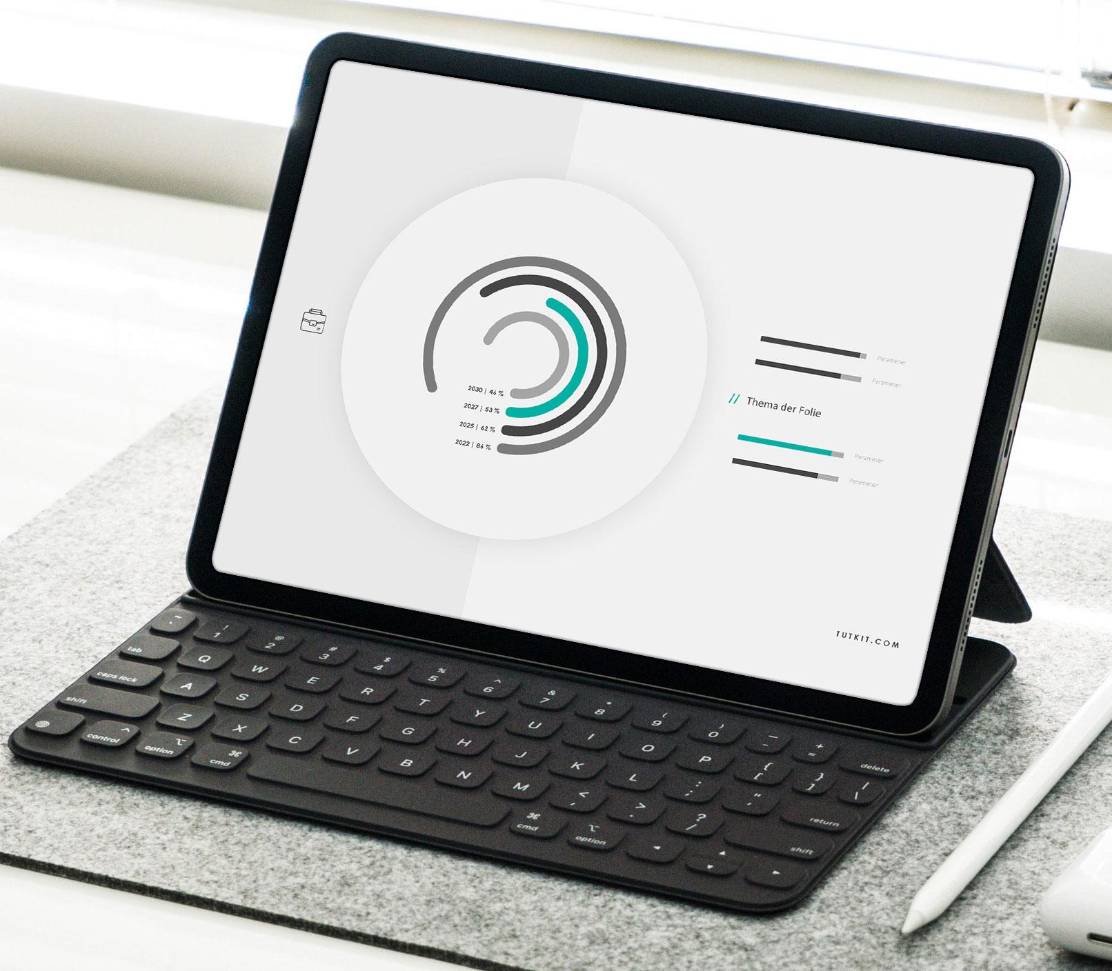 Vorlagen für Google Präsentationen im Air-Design: Beispielfolie auf einem Laptop