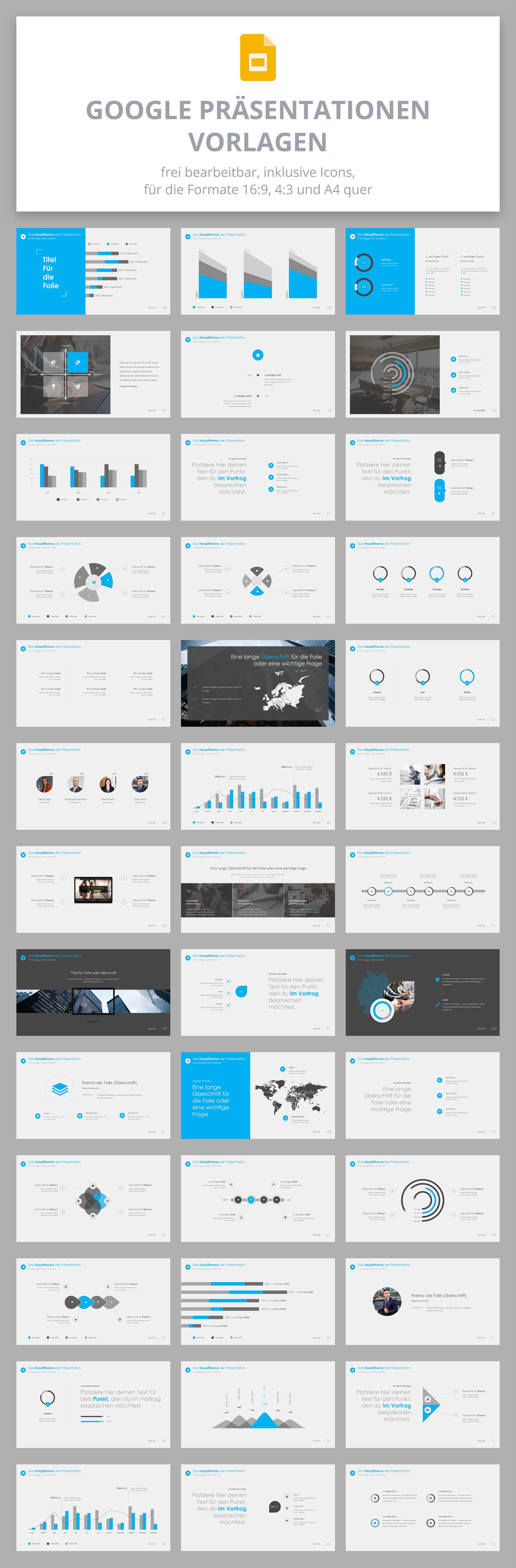 Präsentationsfolien im 360Grad-Design für Google Slides: verschiedene Vorlagen im Überblick