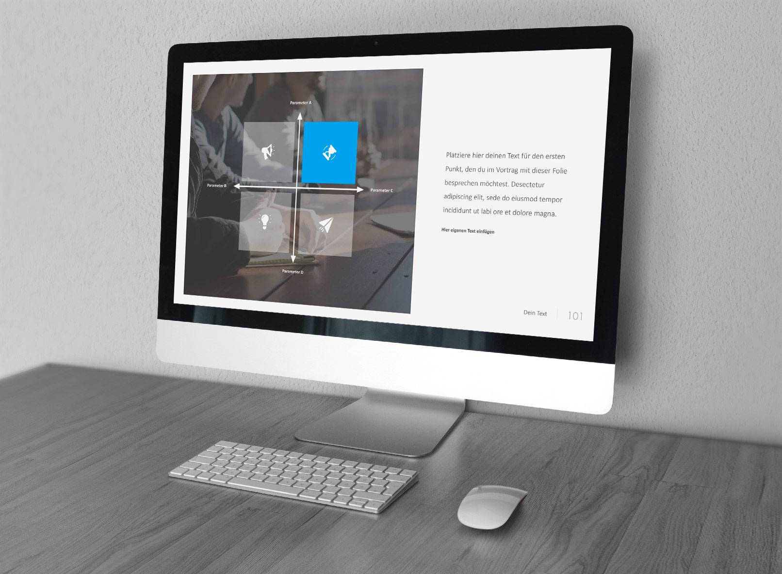 Folien-Vorlage für Google Slides, dargestellt auf einem Monitor