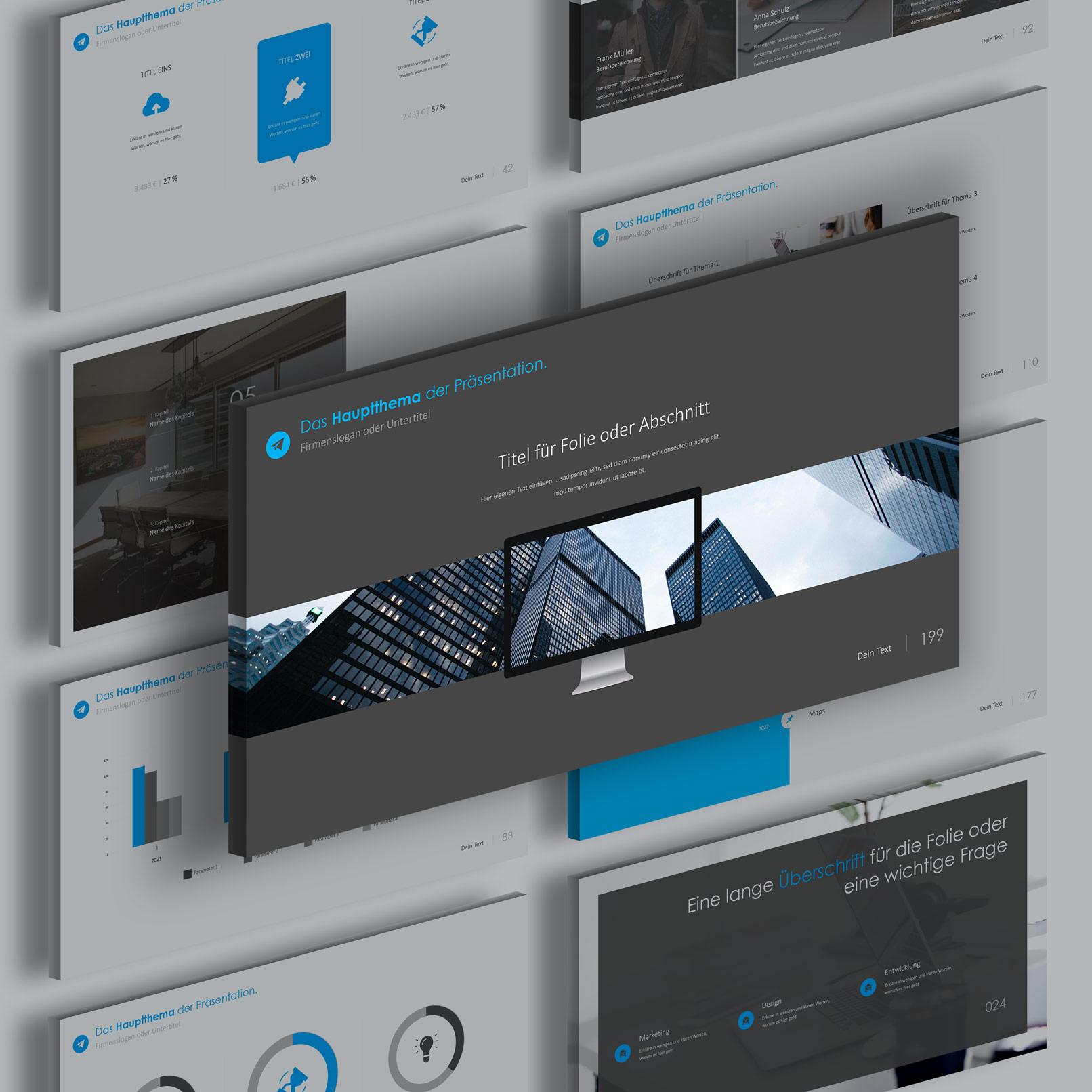 Präsentationsfolien im 360Grad-Design für Google Slides: verschiedene Layouts