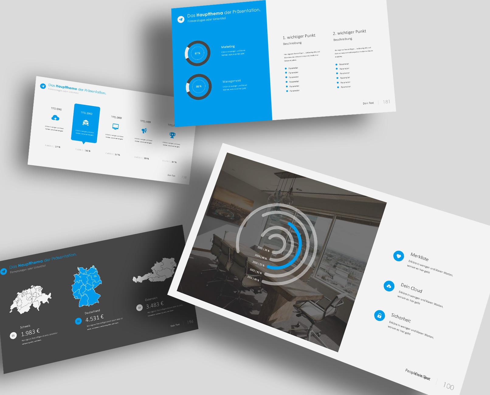 Präsentationsfolien im 360Grad-Design für Google Slides: verschiedene Vorlagen