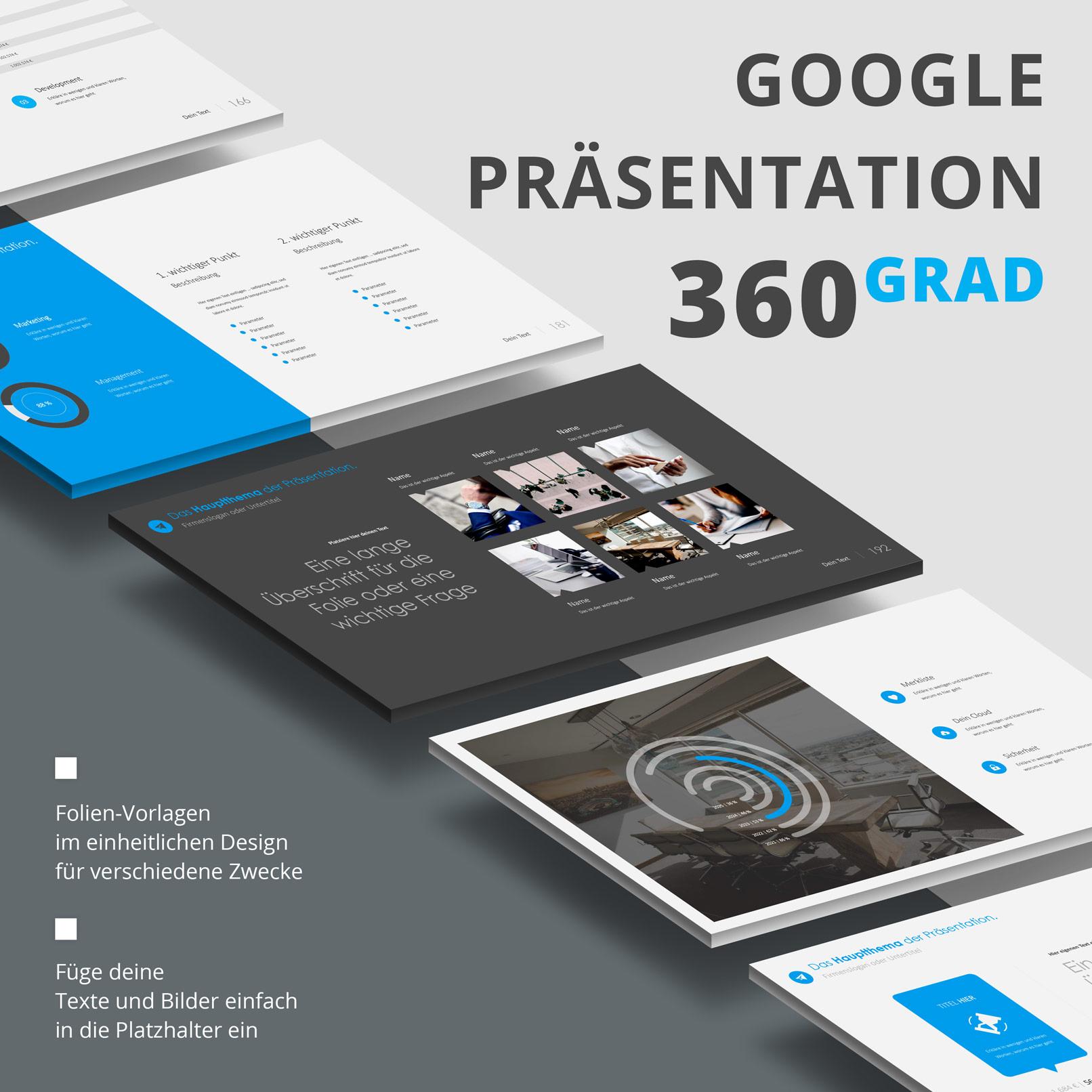 Präsentationsfolien im 360Grad-Design für Google Slides: Zusammenfassung
