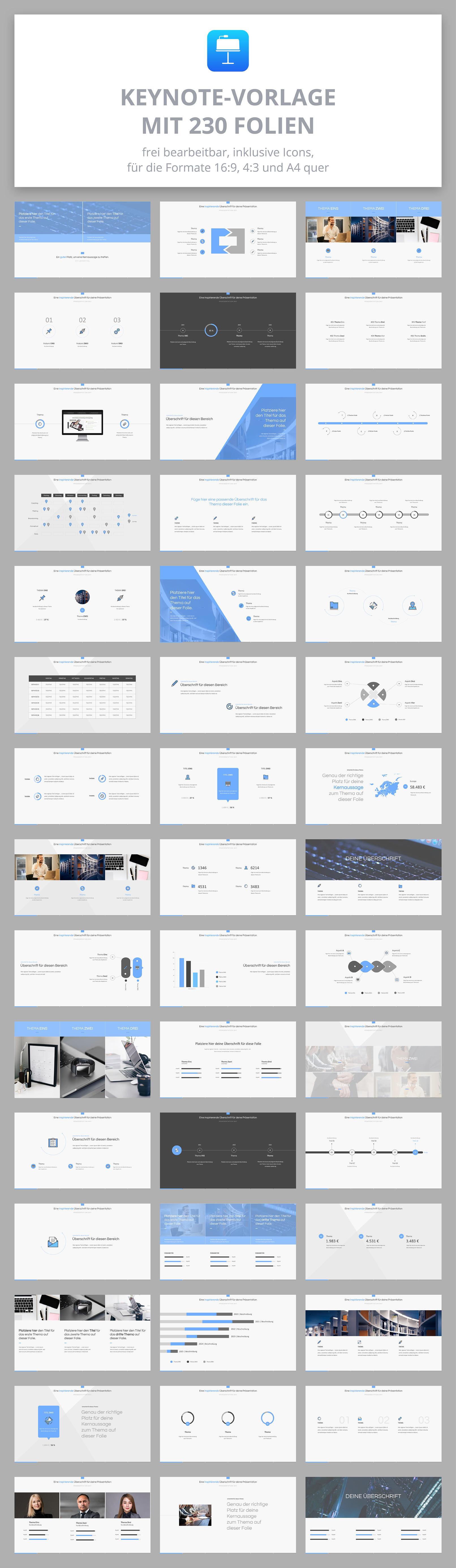 Vorlage für Keynote-Präsentationen: Beispiel-Folien mit verschiedenen Layouts