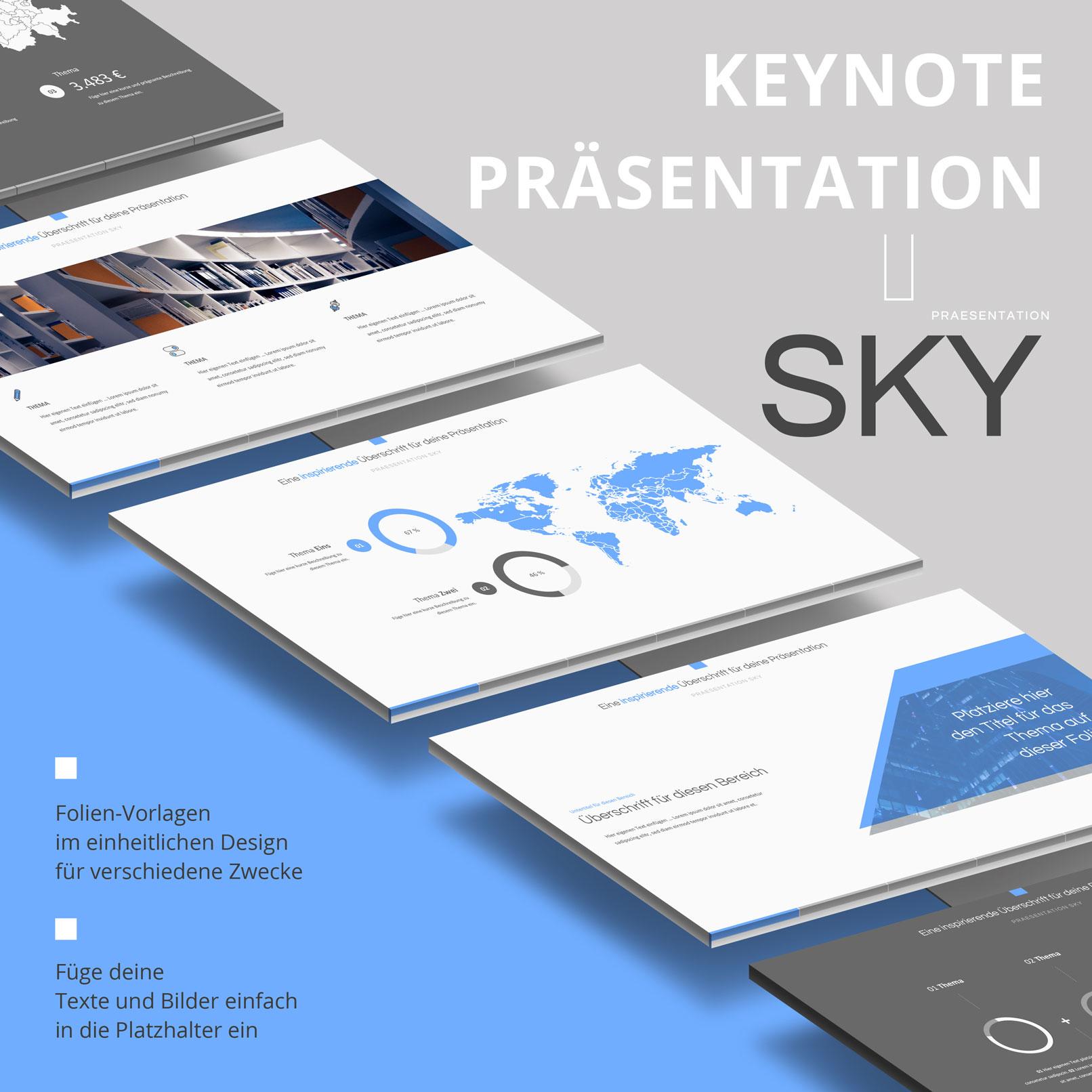 Vorlage für Keynote-Präsentationen: verschiedene Layouts