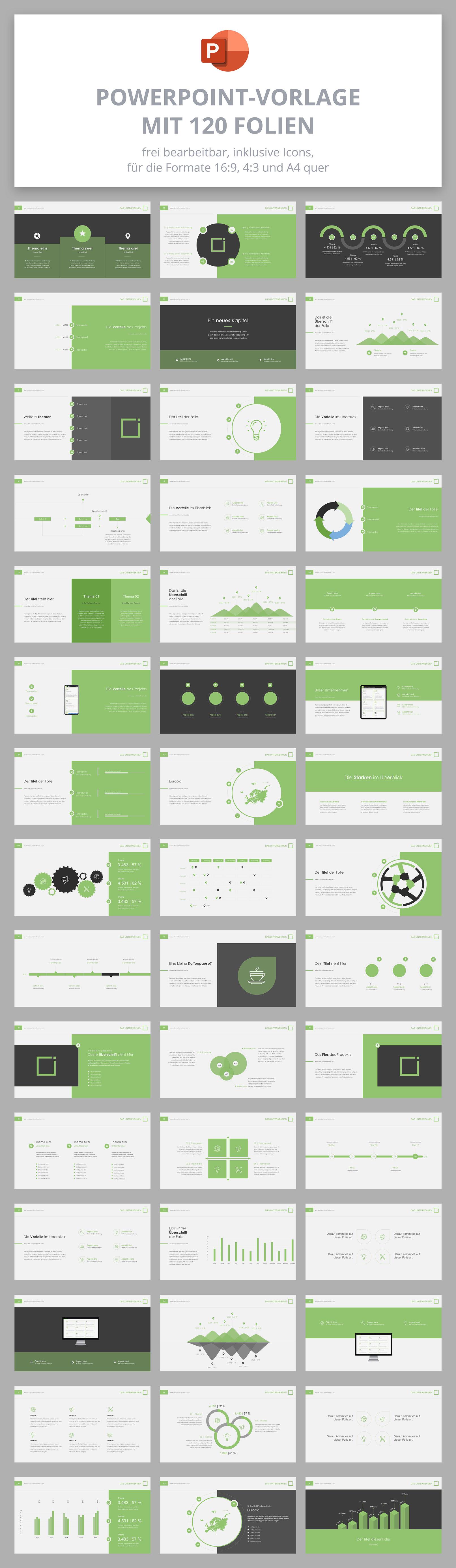 Microsoft PowerPoint-Vorlagen im Square-Design, Auswahl der 120 Folien