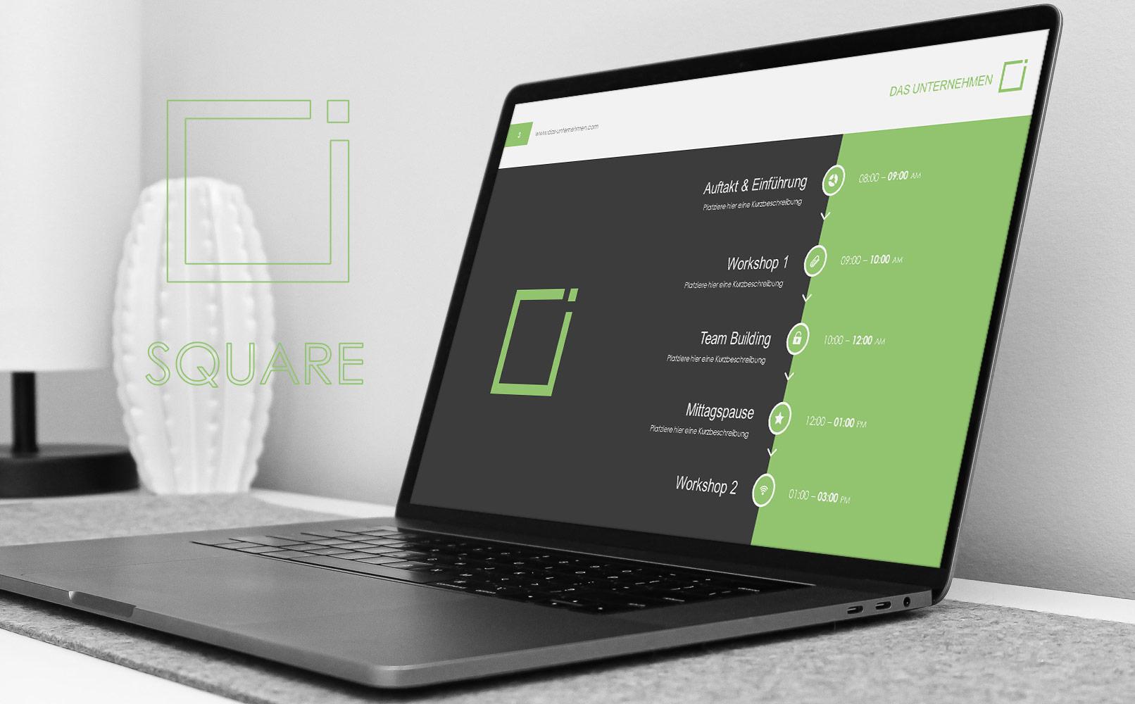 Microsoft PowerPoint-Vorlagen im Square-Design, Beispielfolie auf einem Laptop