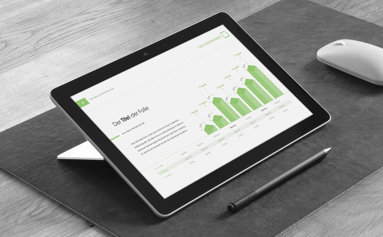 Microsoft PowerPoint-Vorlagen im Square-Design, Beispielfolie auf einem Tablet