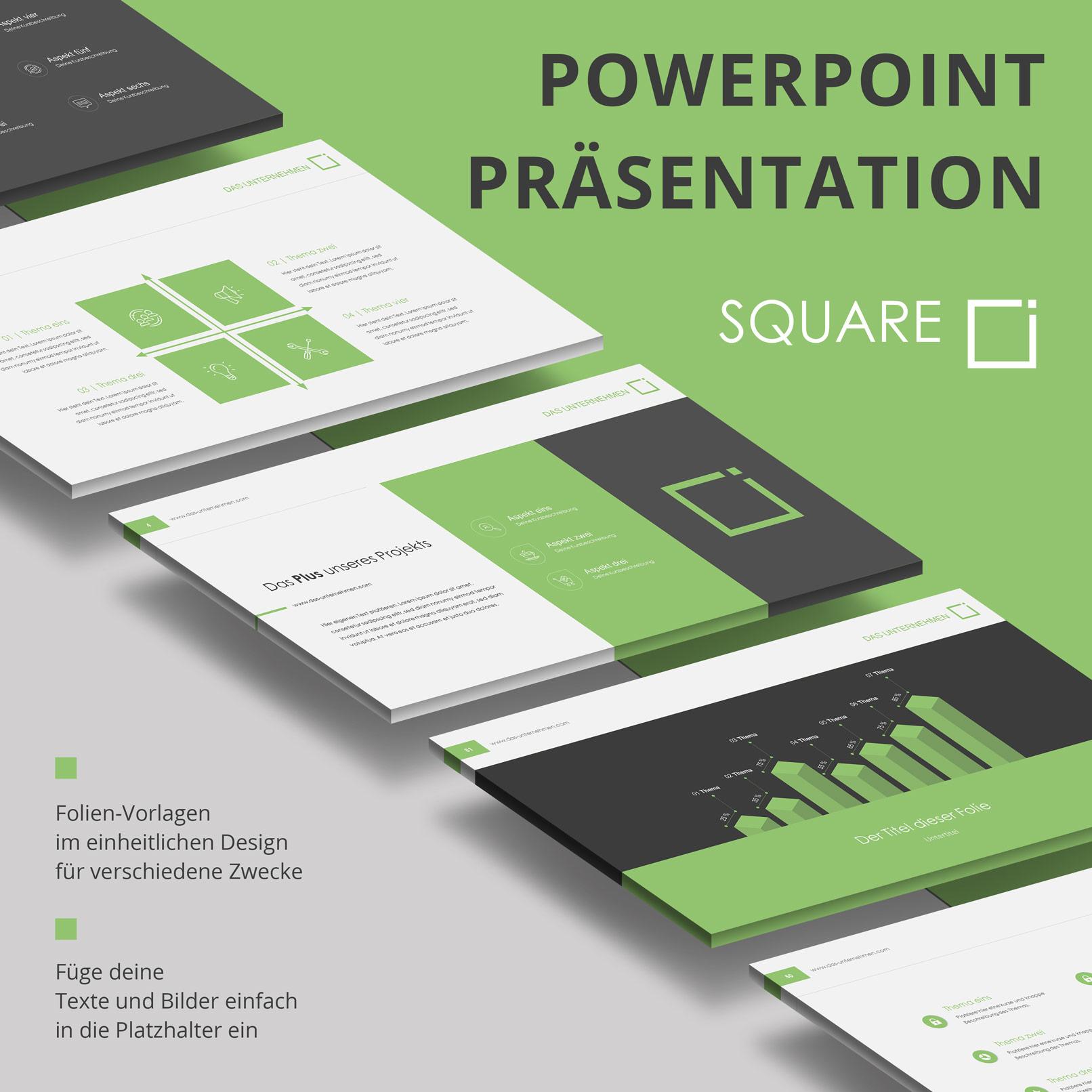 Microsoft PowerPoint-Vorlagen im Square-Design, Beispielfolien