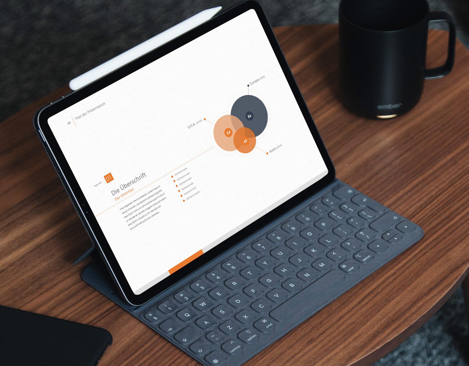 PPT-Template Create, Beispielfolie auf einem Laptop