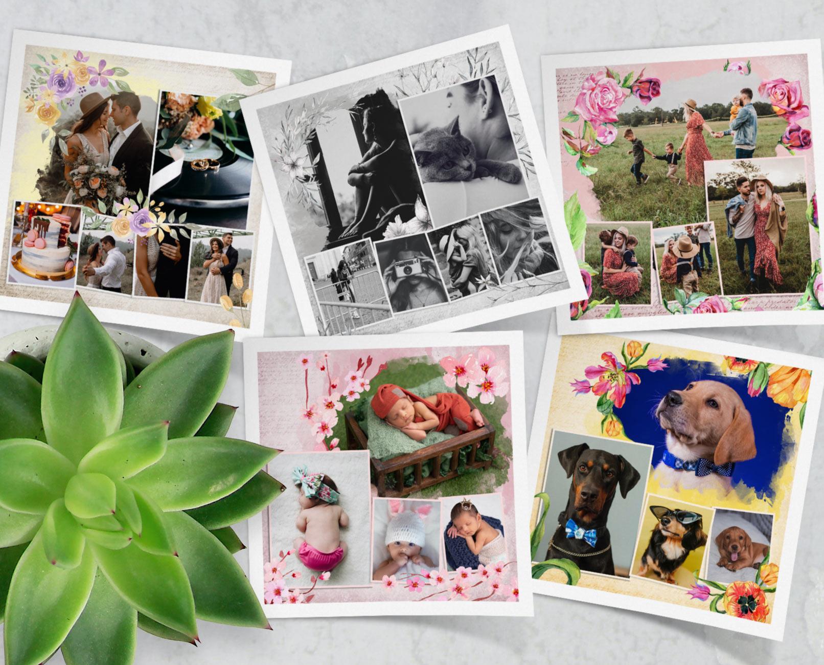 Vorschau auf die Bilderrahmen mit Blumen für Fotocollagen in Photoshop und Co.