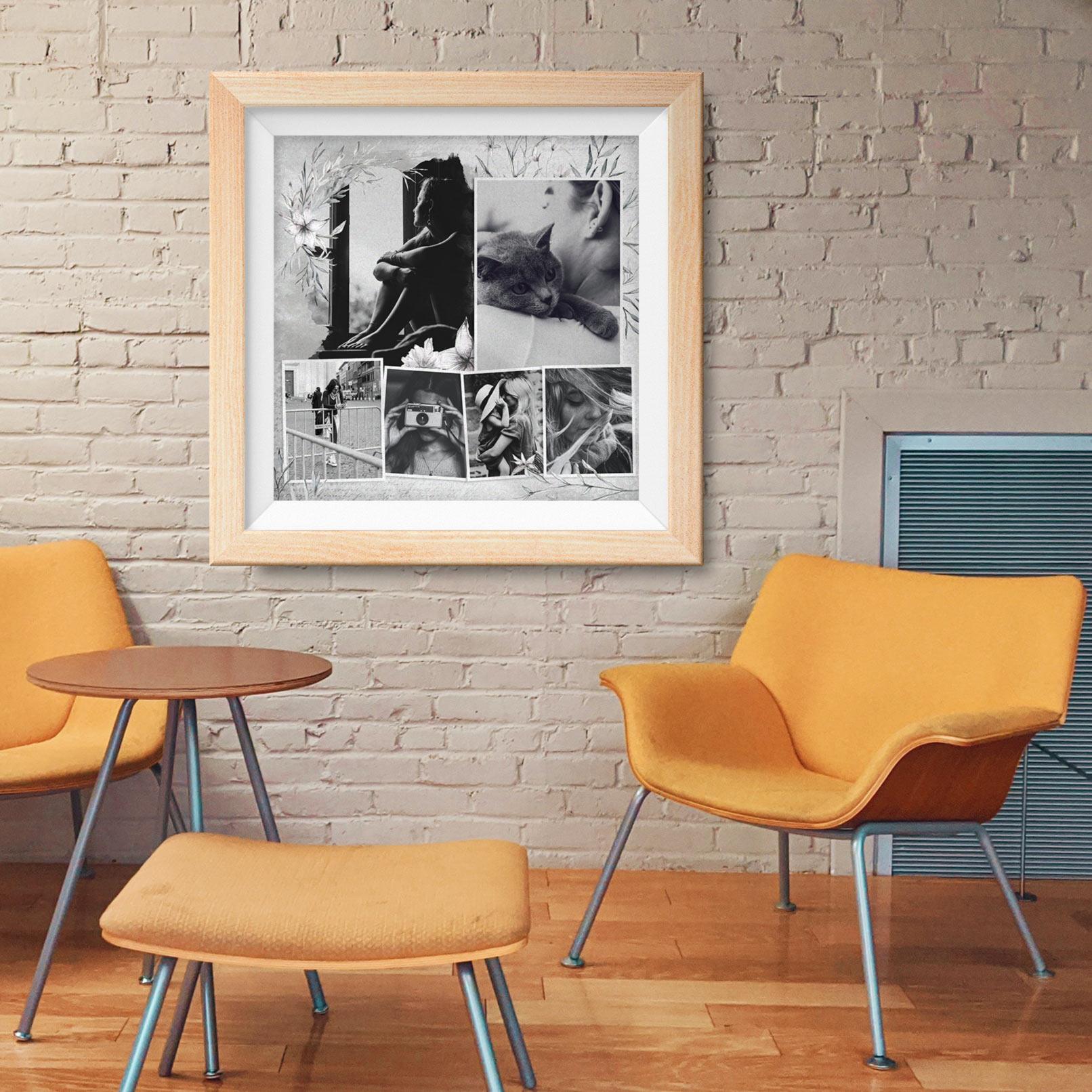 Fotocollage, eingerahmt an einer Wand