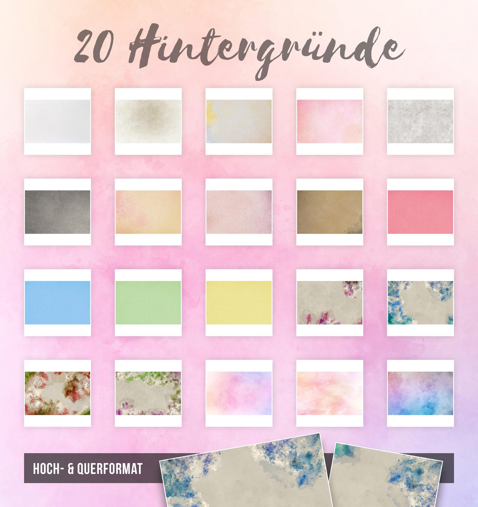 20 Hintergründe mit Wasserfarben-Effekt