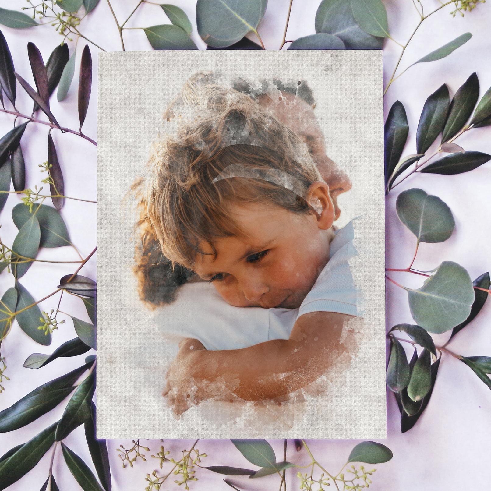 Foto eines Kindes in einem Bilderrahmen mit Wasserfarben-Effekt