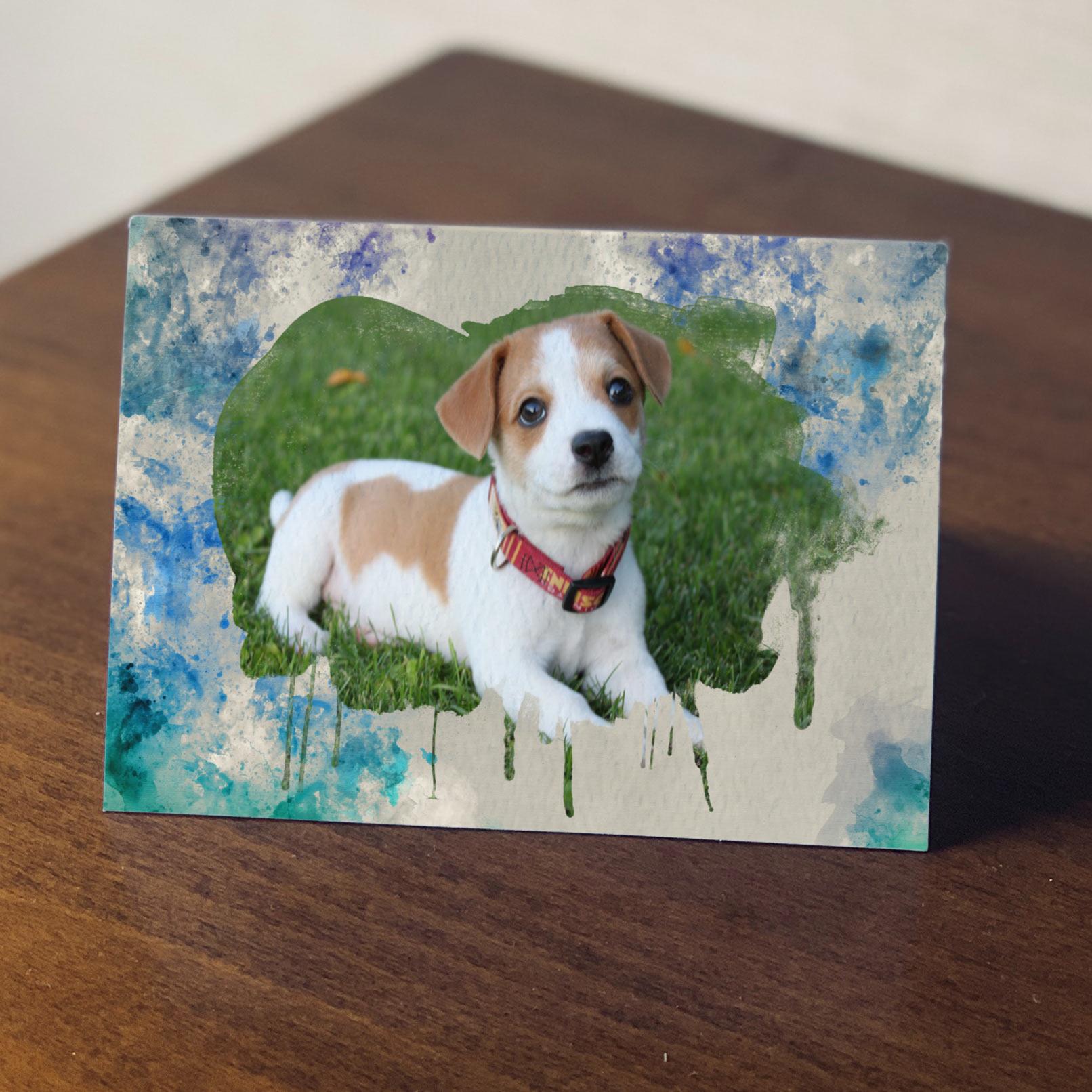 Foto eines Hundes in einem Bilderrahmen mit Wasserfarben-Effekt