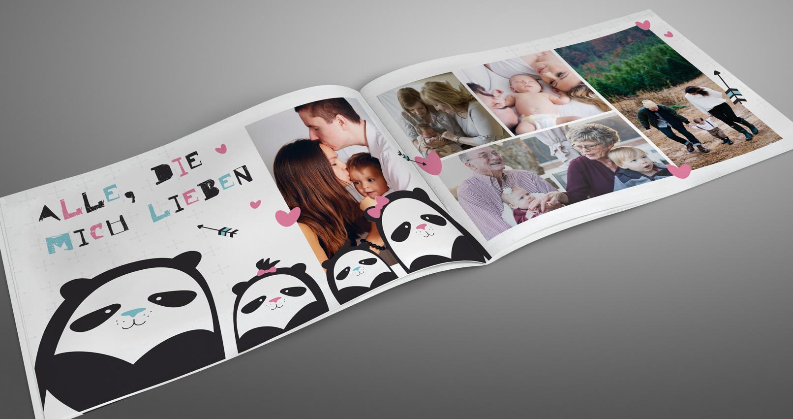 Vorlage für Babyfotoalbum im Querformat DIN A4