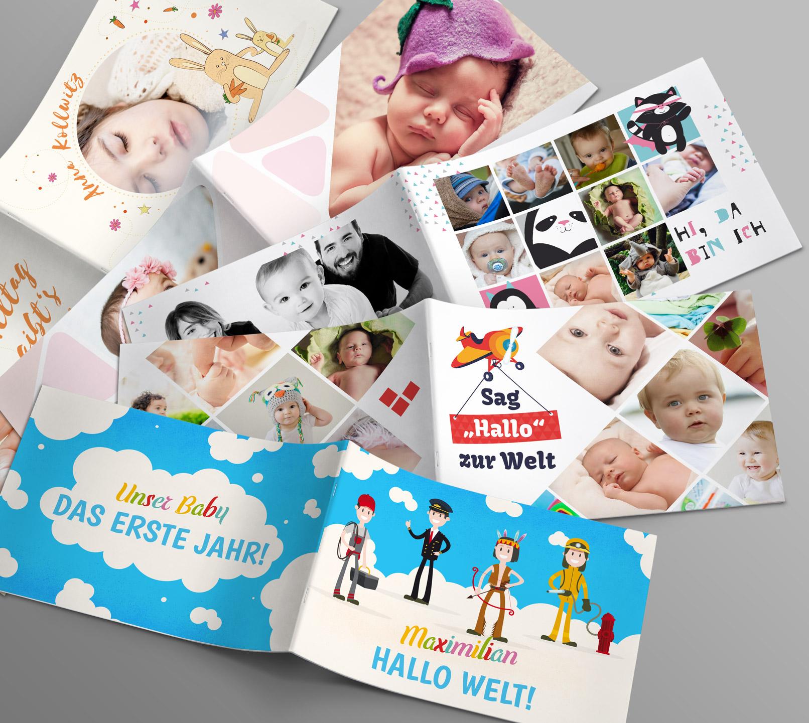 Vorlagen für Babyfotoalben im DIN A4-Querformat