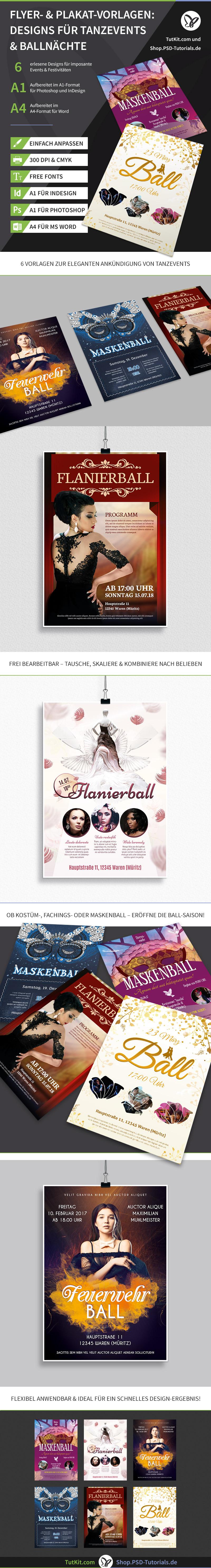 Überblick über die Plakat- und Flyer-Vorlagen zum Thema Tanzevents und Ballnächte