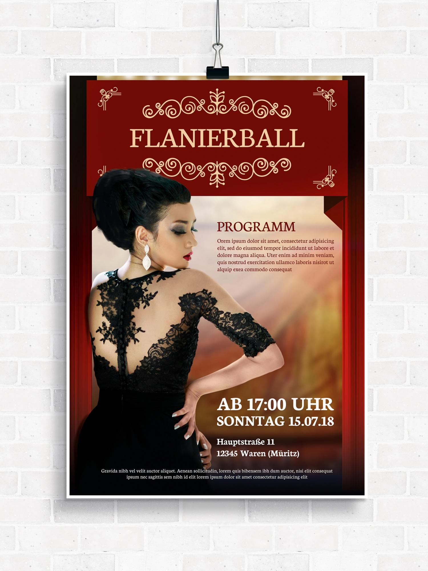 Poster, Flyer und Plakate fuer Ball, Maskenball, Feuerwehrball oder Flanierball