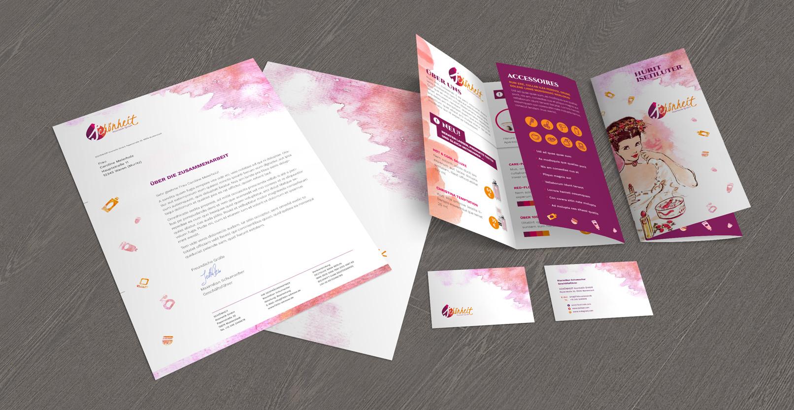 Vorlagen im Corporate Design für den Bereich Wellness und Friseure: Flyer, Briefpapier, Visitenkarten
