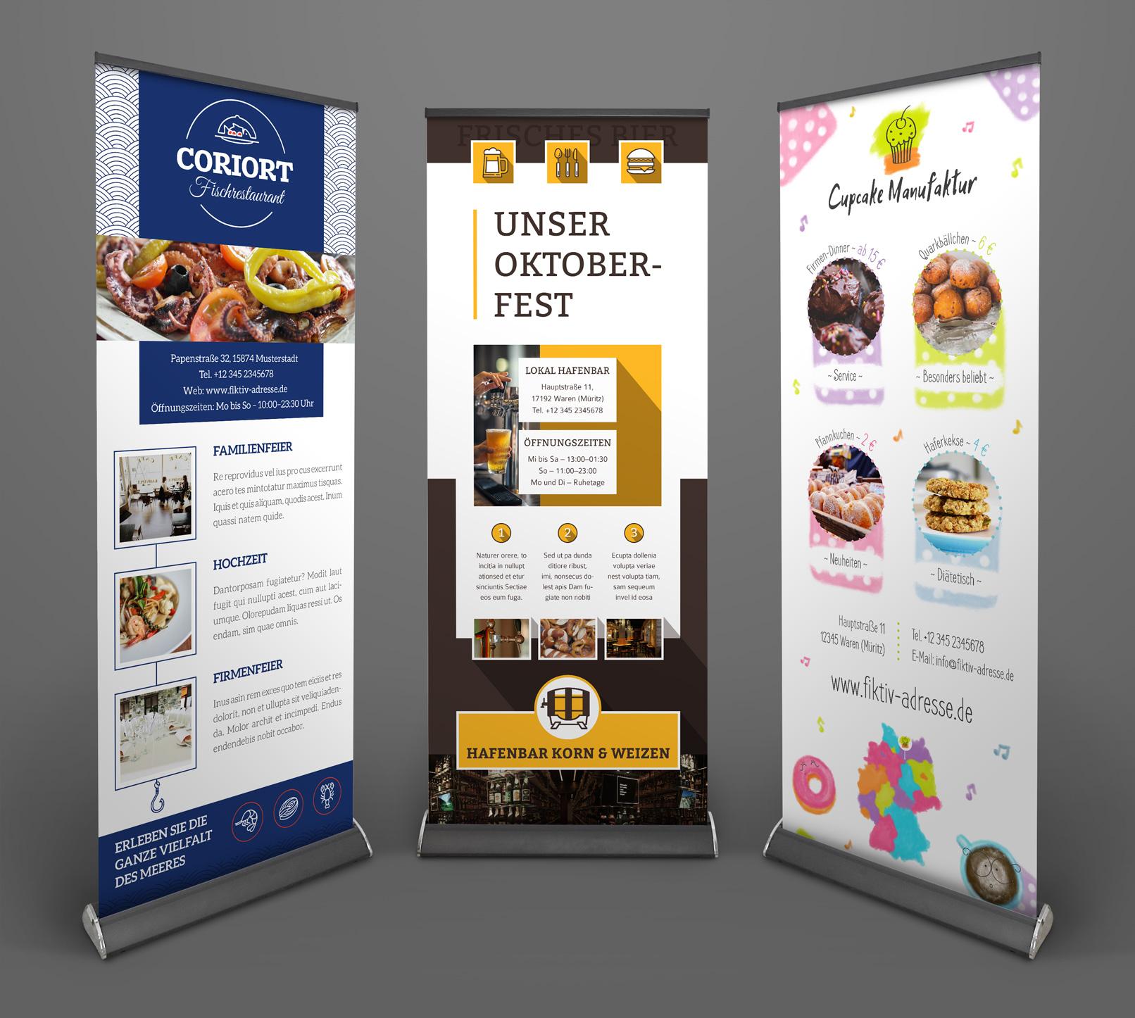 Vorlagen Corporate Design für den Bereich Ernährung und Food: Roll-ups