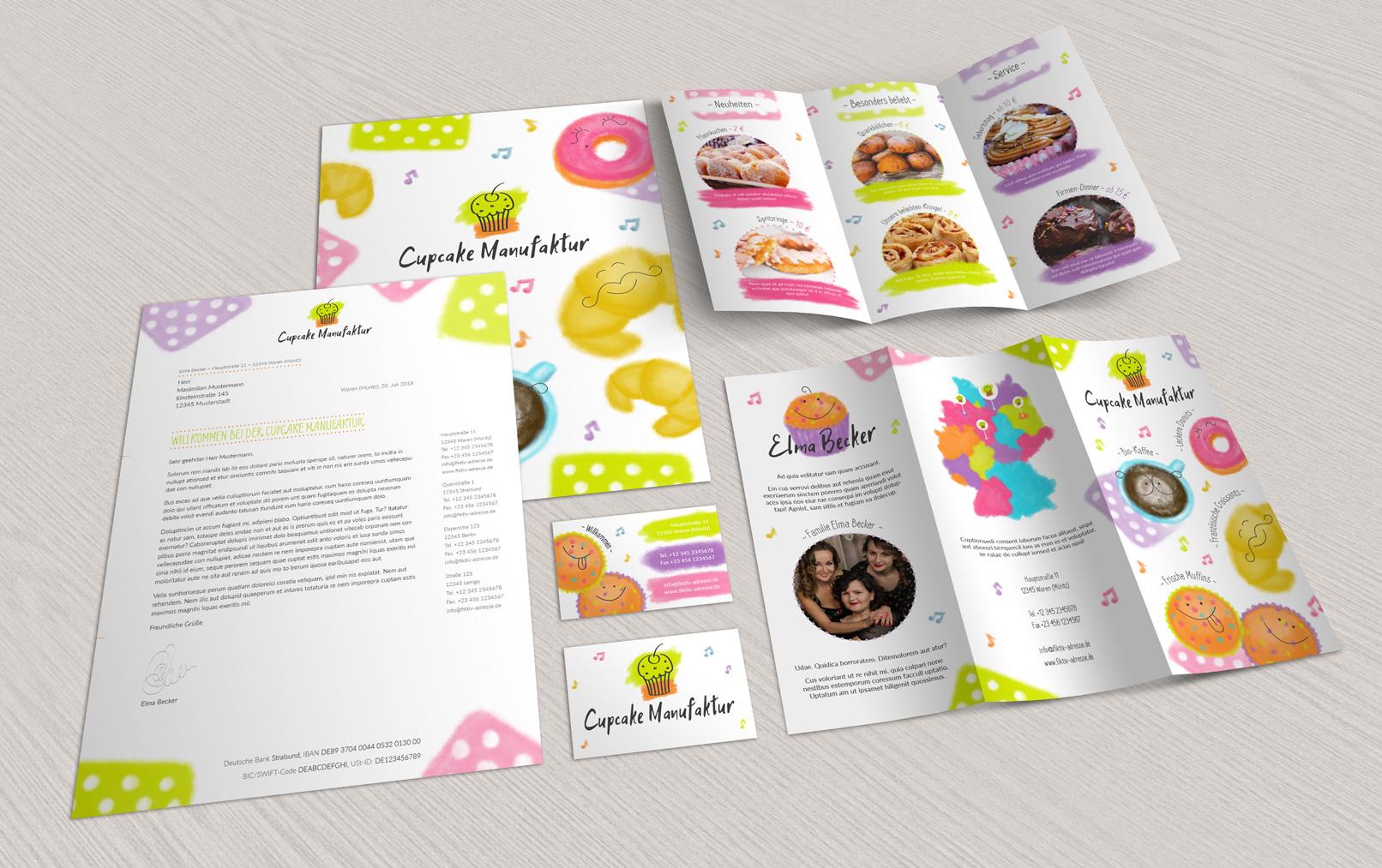 Vorlagen Corporate Design für den Bereich Ernährung und Food: Flyer, Briefpapier, Visitenkarten: Flyer, Briefpapier, Visitenkarten