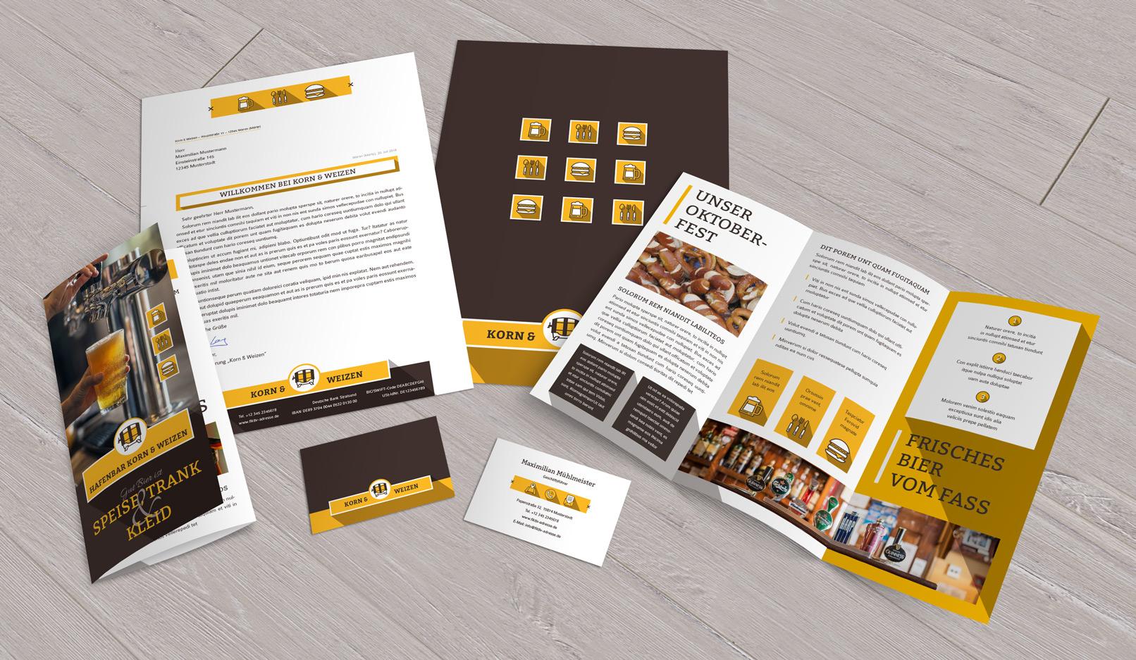 Vorlagen Corporate Design für den Bereich Ernährung und Food: Flyer, Briefpapier, Visitenkarten