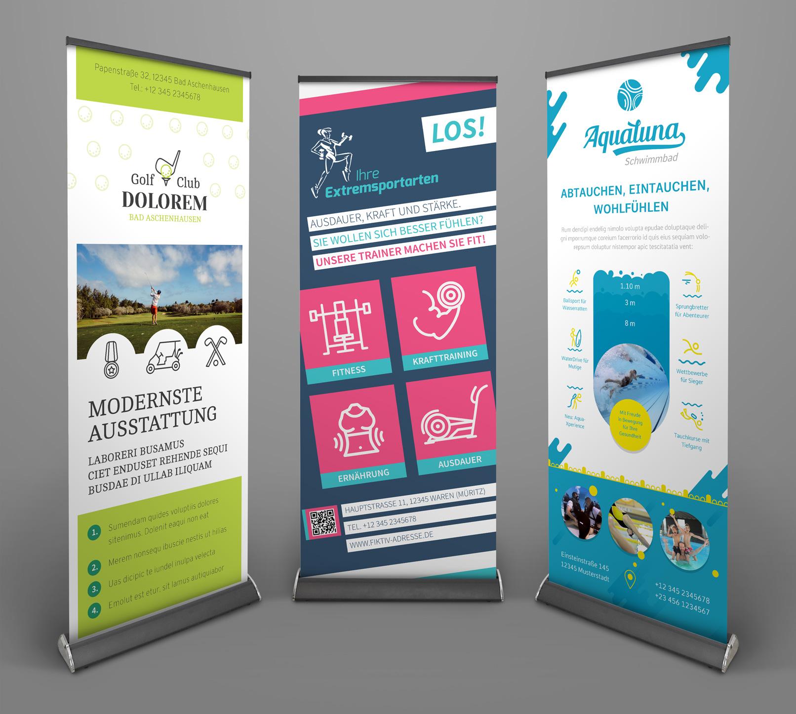 Vorlagen im Corporate Design für den Bereich Sport und Bewegung: Flyer, Briefpapier, Visitenkarten