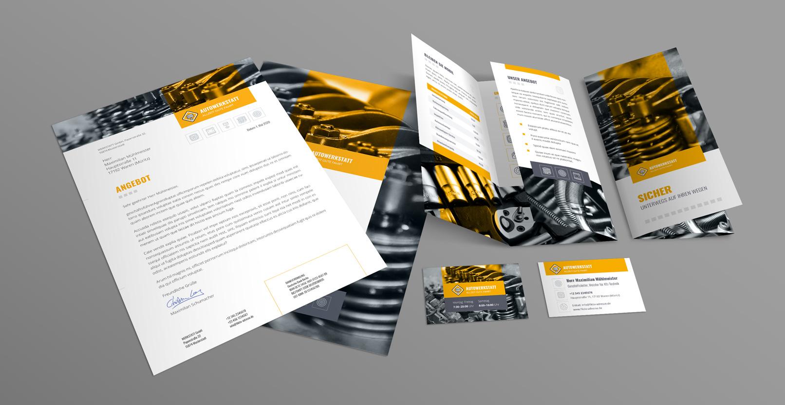 Corporate Design Vorlagen für eine Werkstatt mit Briefpapier, Visitenkarte und Flyer.