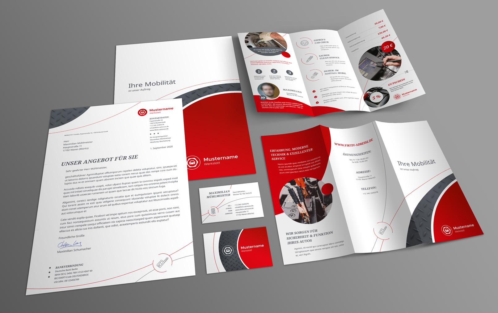 Neben einem PowerPoint Layout sind diese Vorlagen für gedruckte Kommunikationsmittel enthalten.