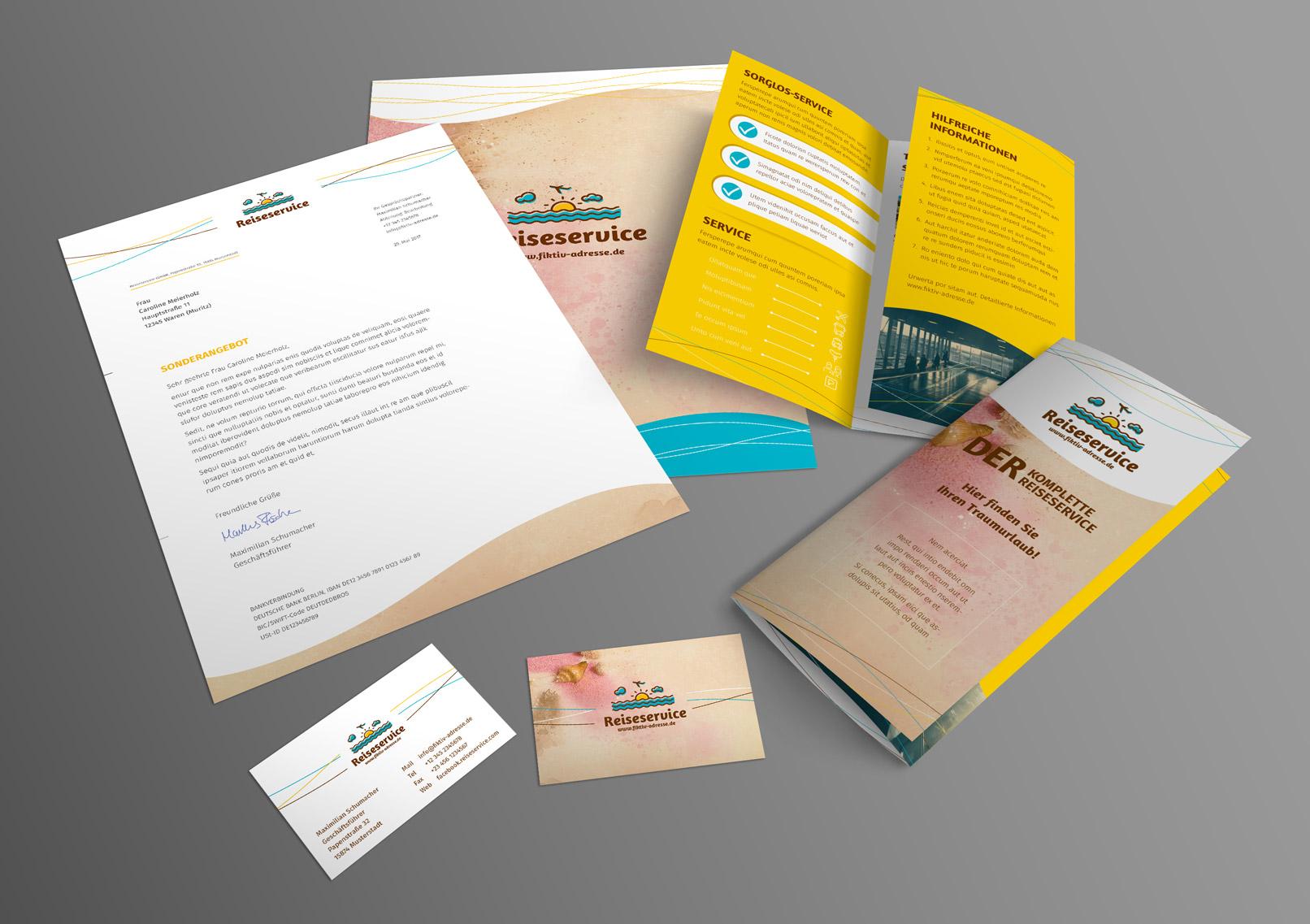 Vorlagen für Reisewerbung und Werbung für einen Urlaub. Thema Reiseservice. Unter anderem Reiseflyer, Visitenkarte.