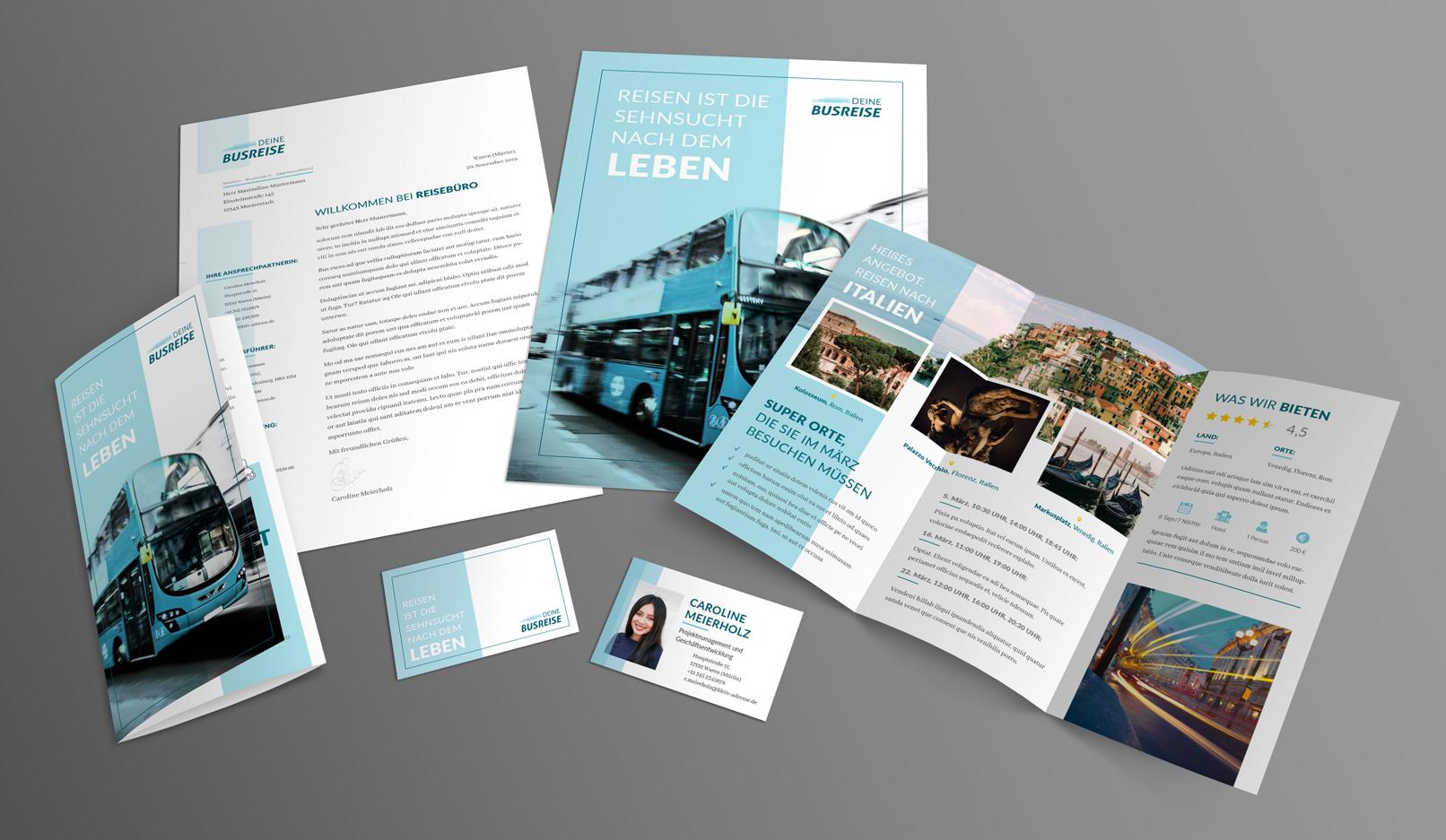Vorlagen für Reisewerbung und Werbung für einen Urlaub. Thema Reisebüro. Unter anderem Reiseflyer, Visitenkarte.