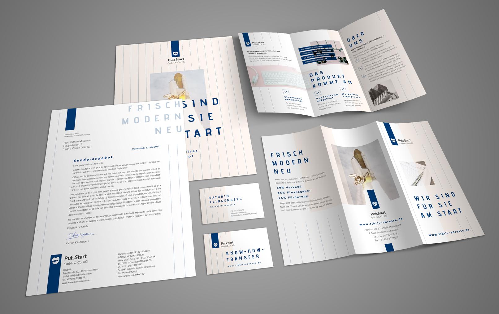 Einheitliche Designs über verschiedene Kommunikationsmittel hinweg: Flyer, Briefpapier, Visitenkarte und mehr