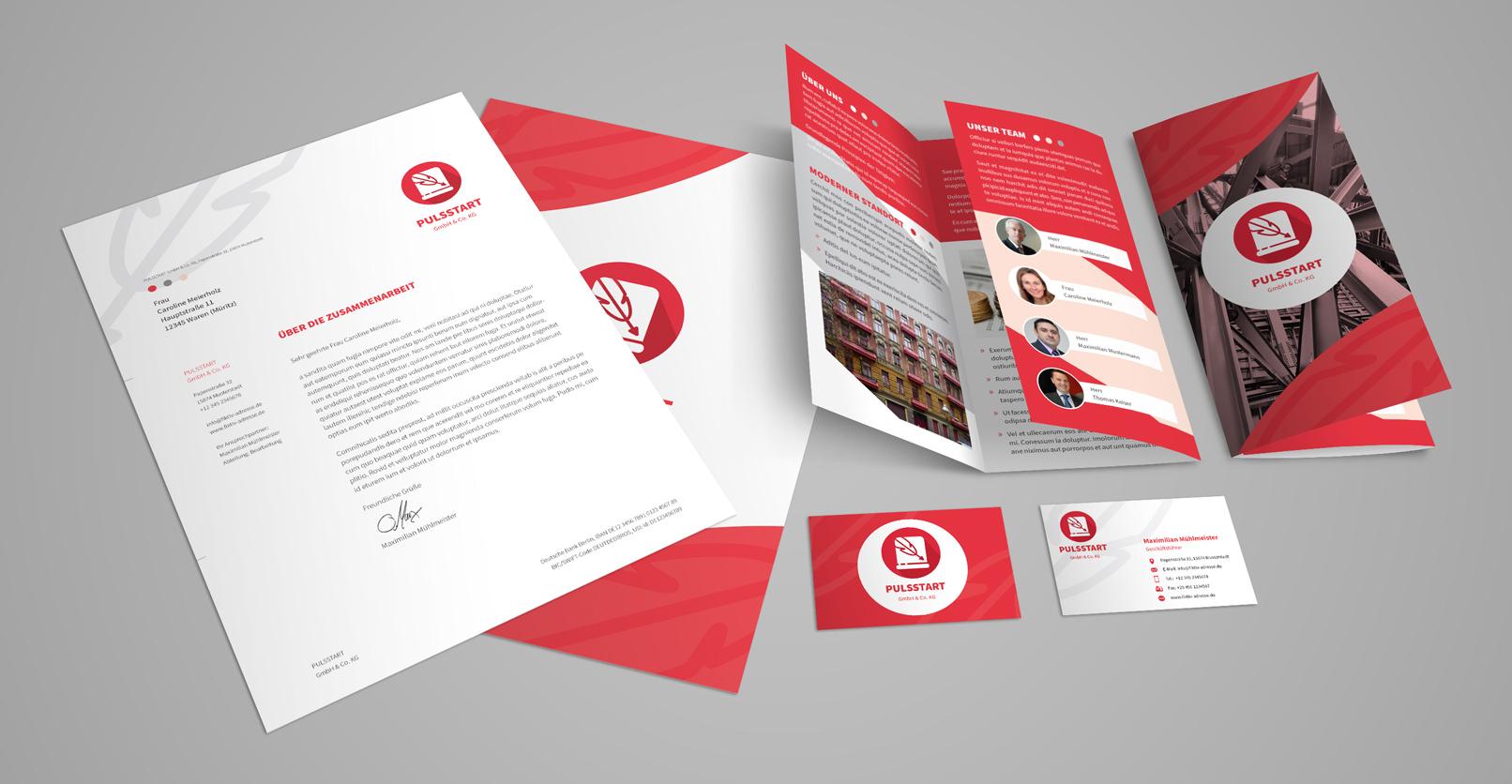 Corporate-Design-Vorlage – kommuniziere stilsicher mit Visitenkarte, Briefpapier oder Flyer.