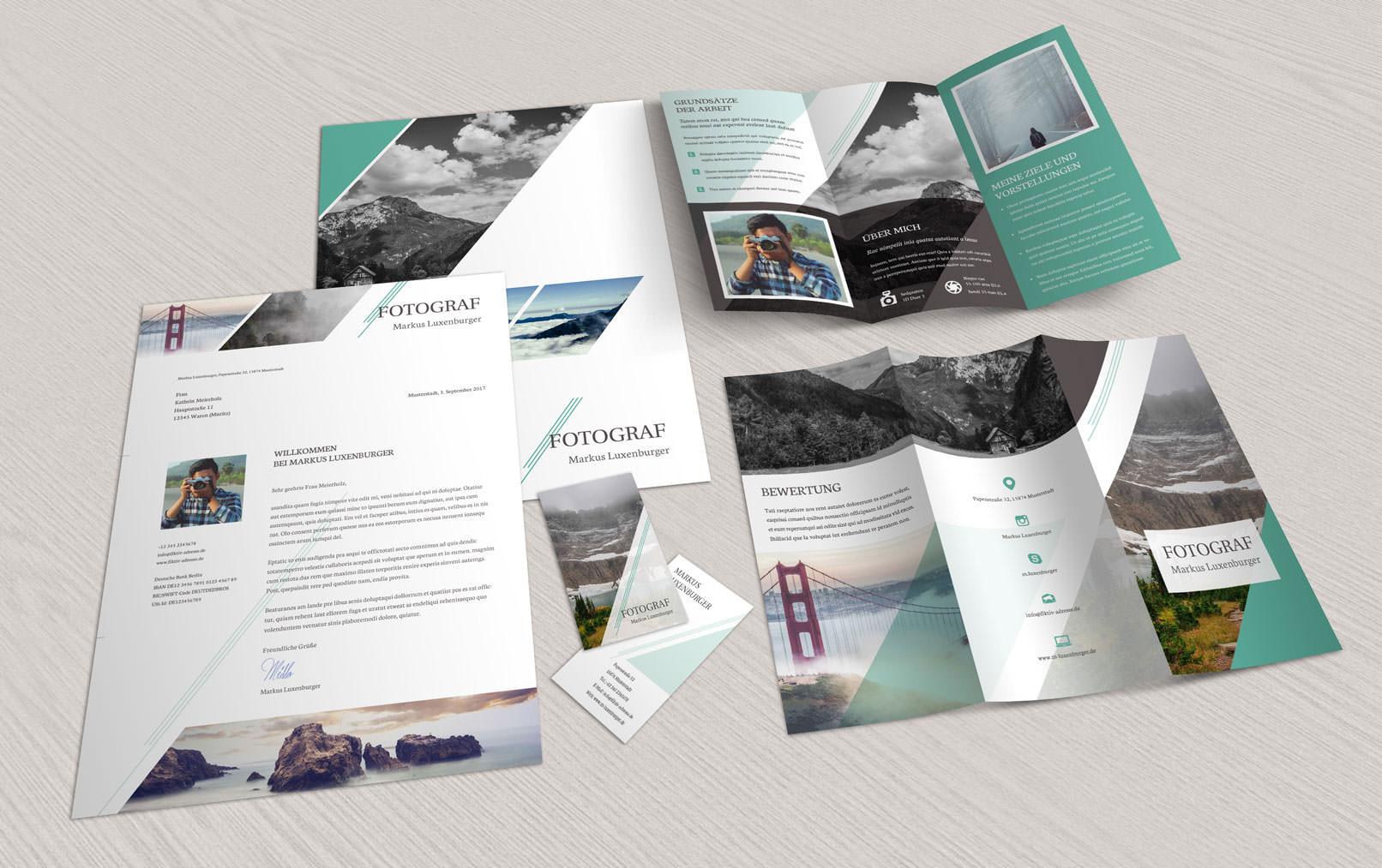 Vorlagen im Corporate Design für Fotografen und Designer: Flyer, Briefpapier, Visitenkarten