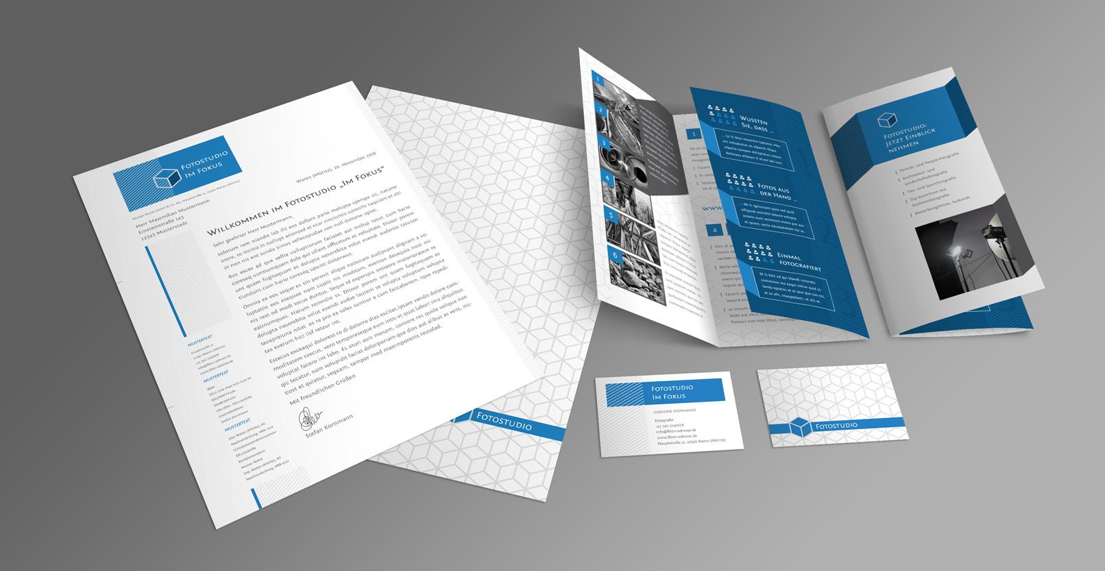 Brand Identity für Fotografen und Designer: Flyer, Briefpapier, Visitenkarten